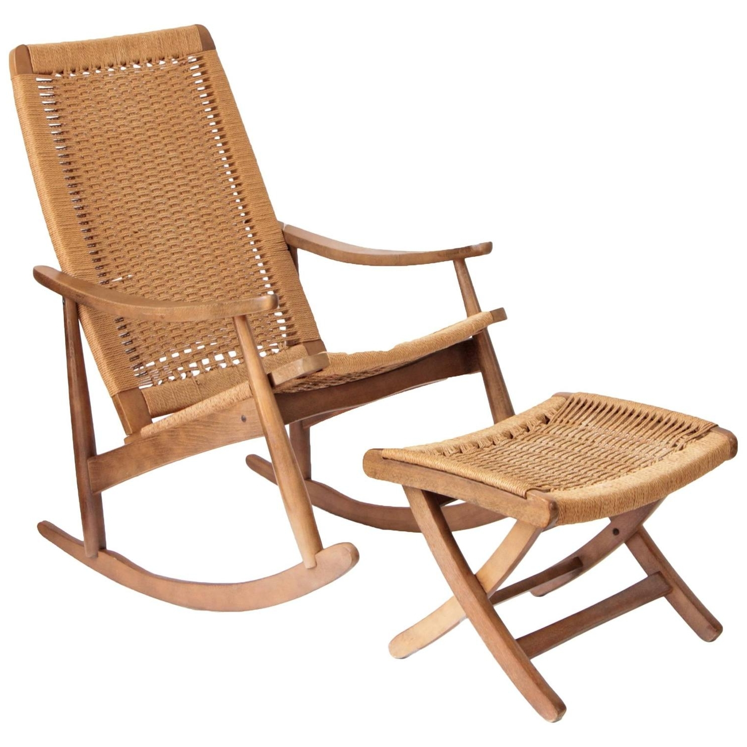 Most Recently Released Woven Rope Mid Century Modern Rocking Chair And Ottoman At 1stdibs Regarding Rocking Chairs With Ottoman (View 3 of 20)