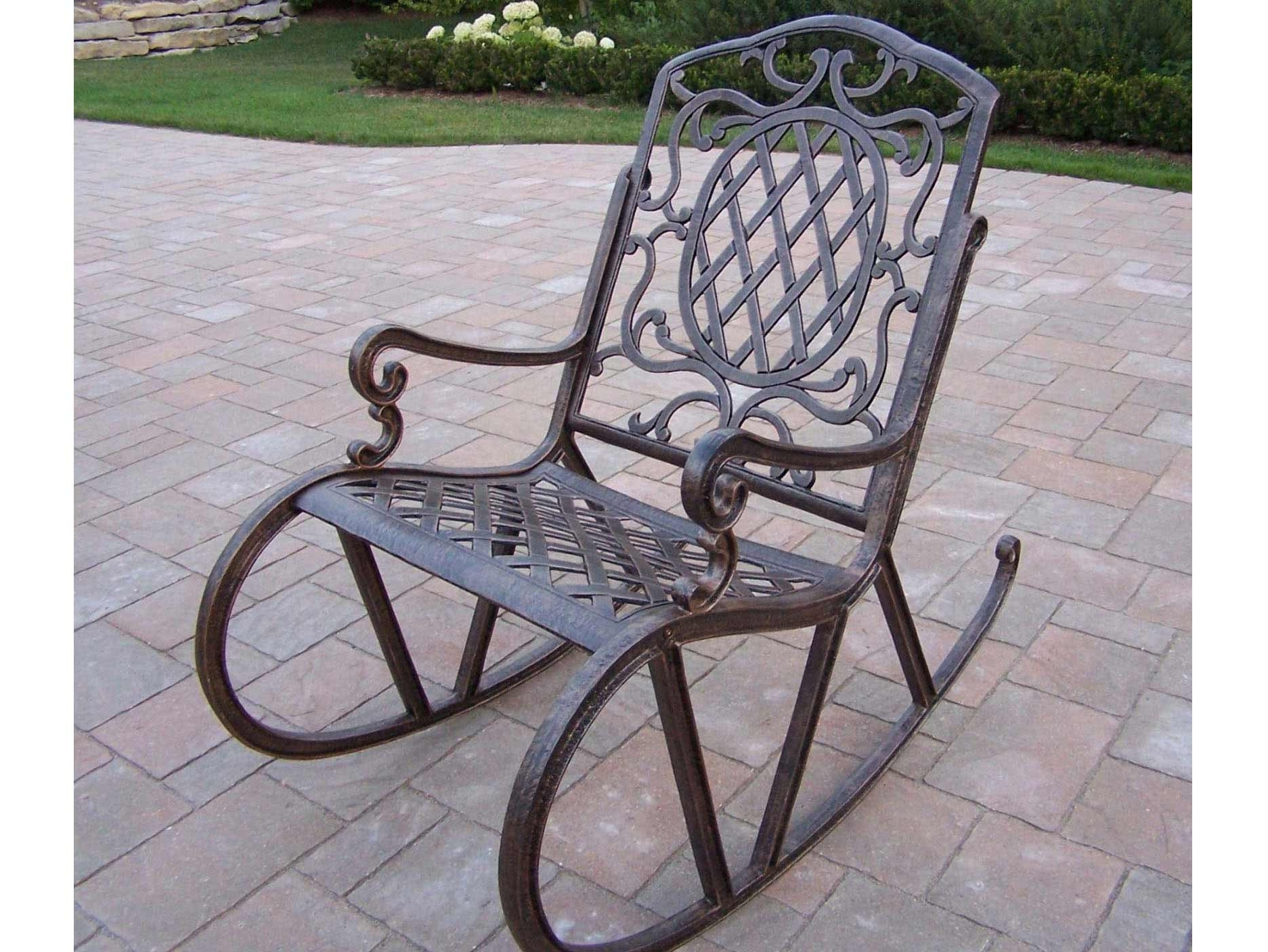 Most Recently Released Wrought Iron Patio Rocking Chairs Inside Shop Davenport Wrought Iron Rocking Chair With Mesh Seat At Lowes (View 9 of 20)