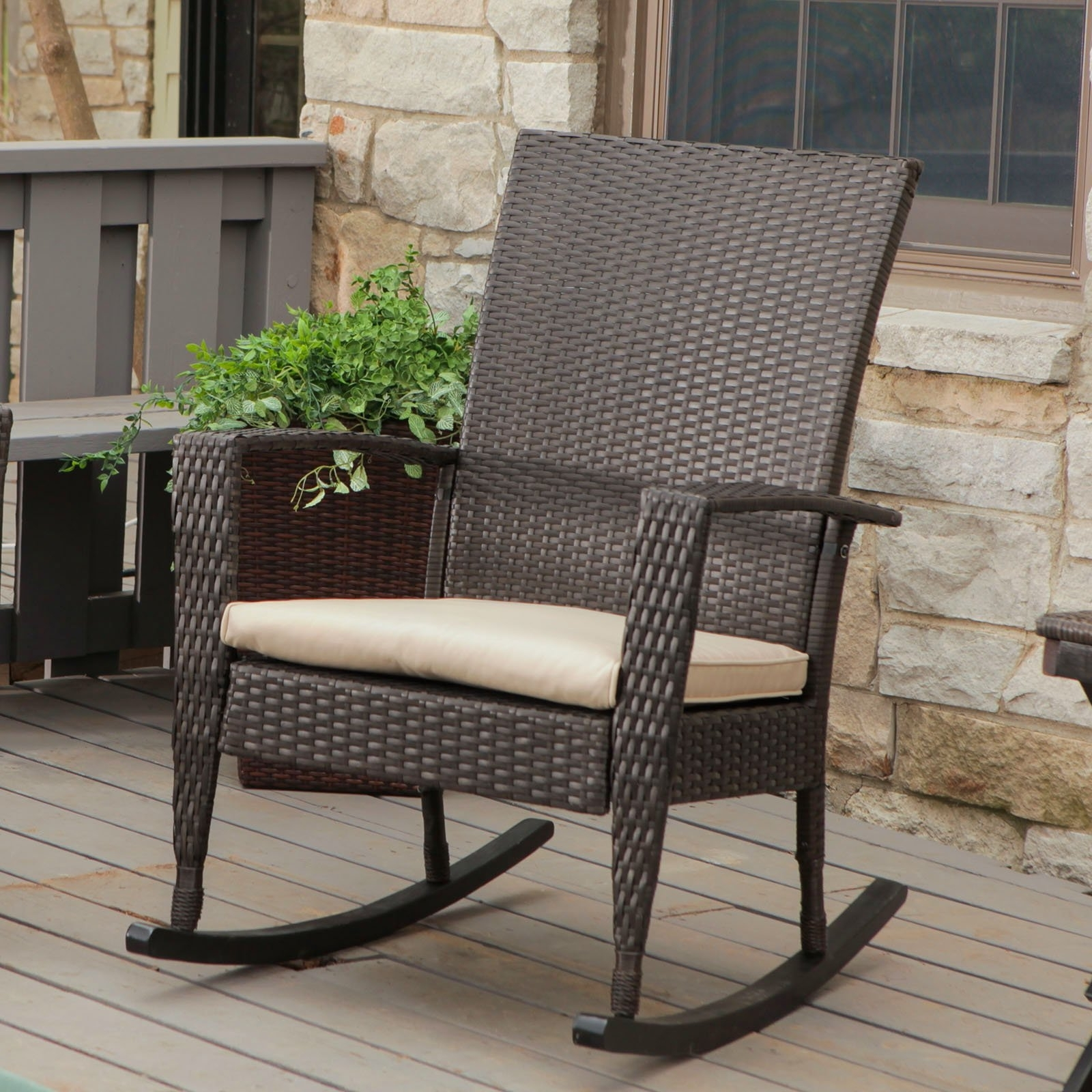 Most Up To Date Coral Coast Soho High Back Wicker Rocking Chair With Free Cushion Within Outdoor Wicker Rocking Chairs With Cushions (View 7 of 20)