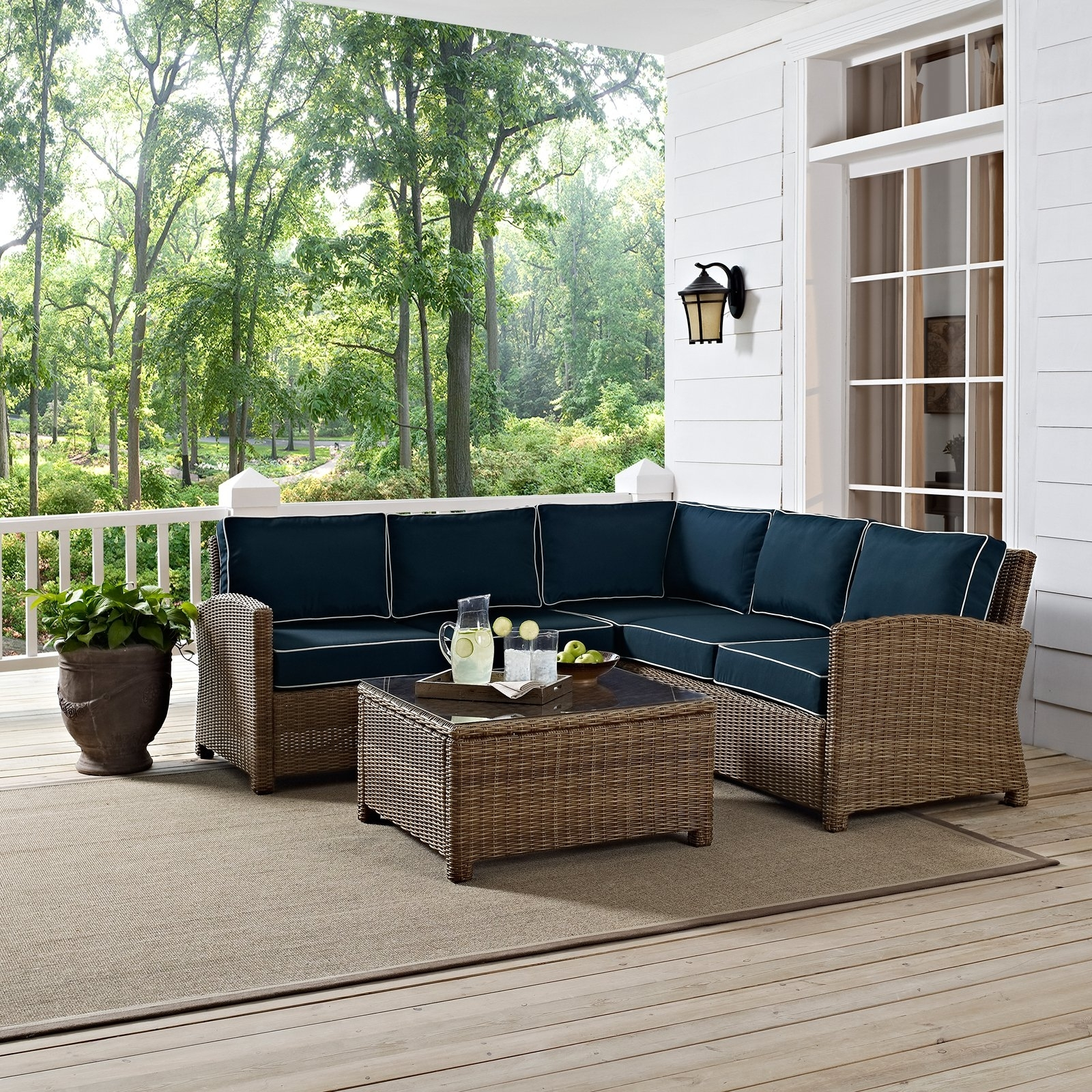 Most Up To Date Crosley Bradenton 4 Piece Outdoor Wicker Conversation Set (View 5 of 20)