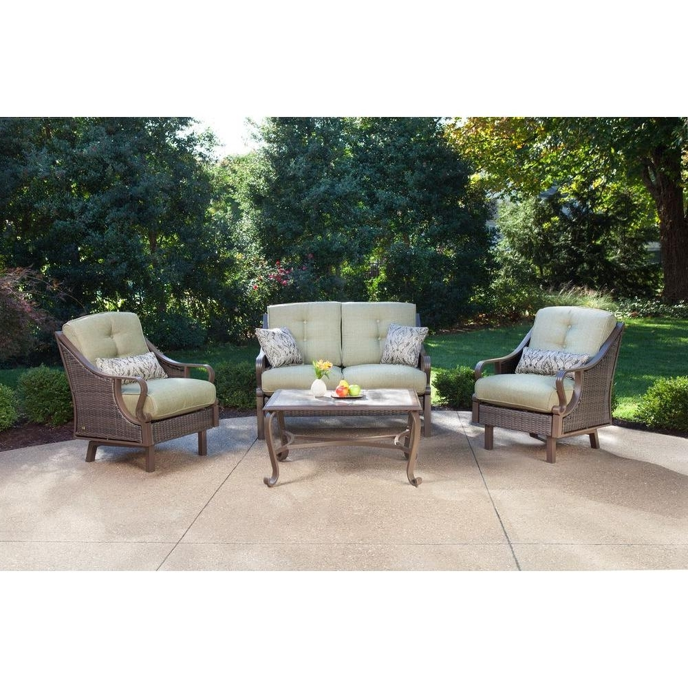 Most Up To Date Hanover Ventura 4 Piece Patio Conversation Set With Vintage Meadow Throughout Patio Furniture Conversation Sets At Home Depot (View 5 of 20)