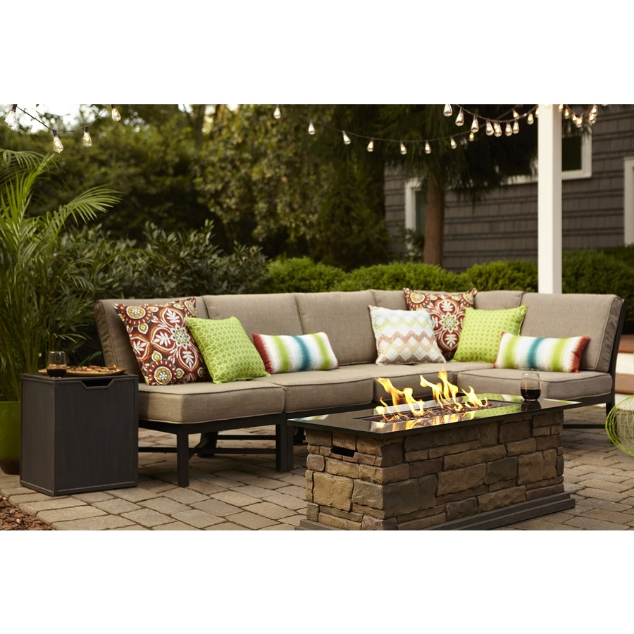 Most Up To Date Lowes Patio Furniture Conversation Sets Regarding Shop Garden Treasures Palm City 5 Piece Black Steel Patio (View 8 of 20)