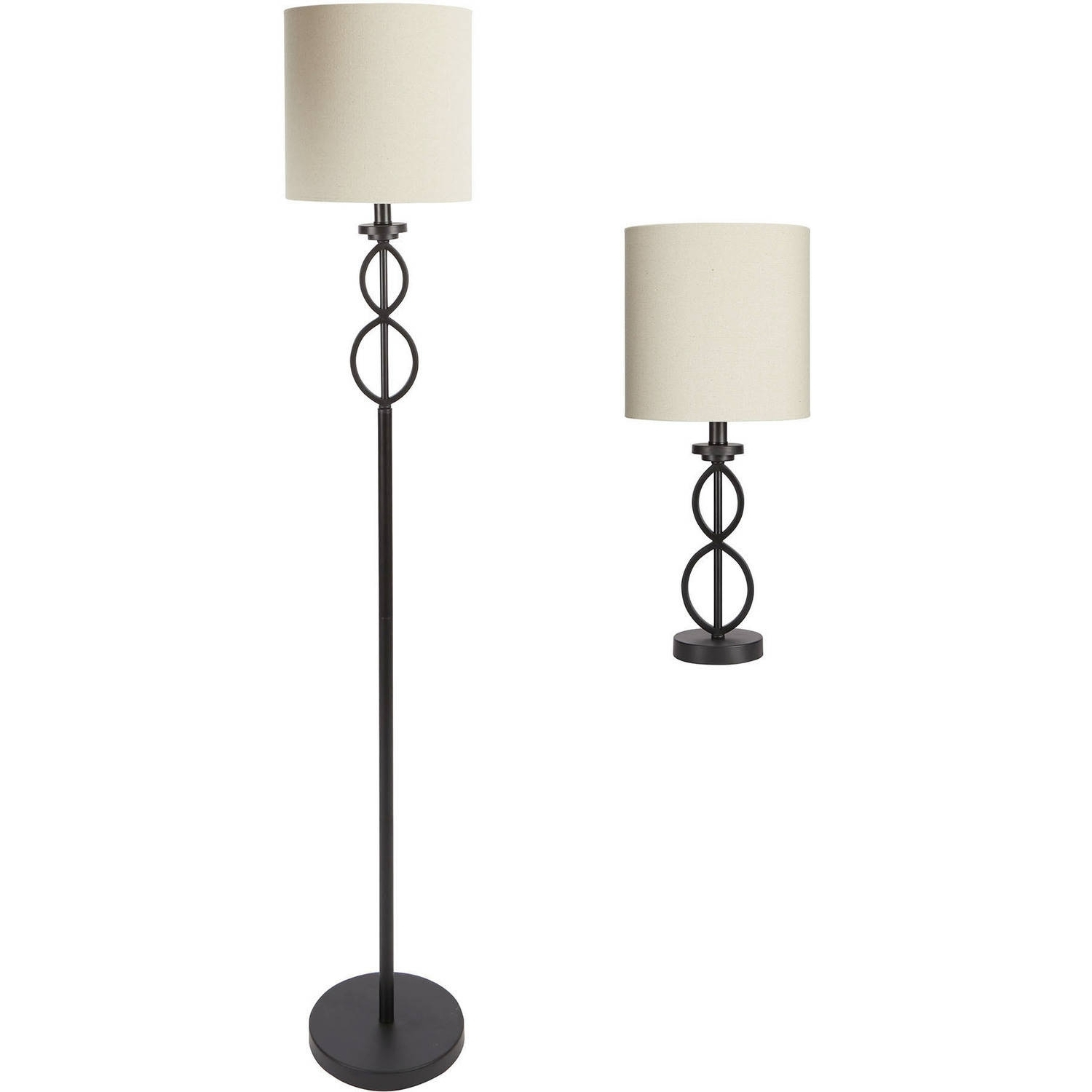 Most Up To Date Mainstays Table And Floor Lamp Set Black Matte Finish Walmart With Throughout Living Room Table Lamps Sets (View 15 of 20)