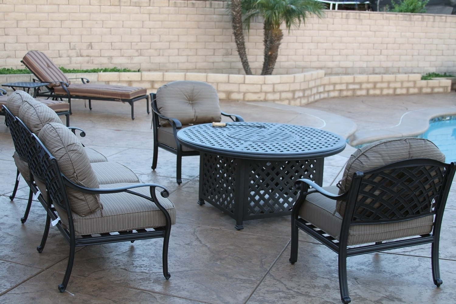 Most Up To Date Nassau 5pc Deep Seating Conversation Set – 1 Loveseat, 2 Club Chairs Pertaining To Round Patio Conversation Sets (View 7 of 20)