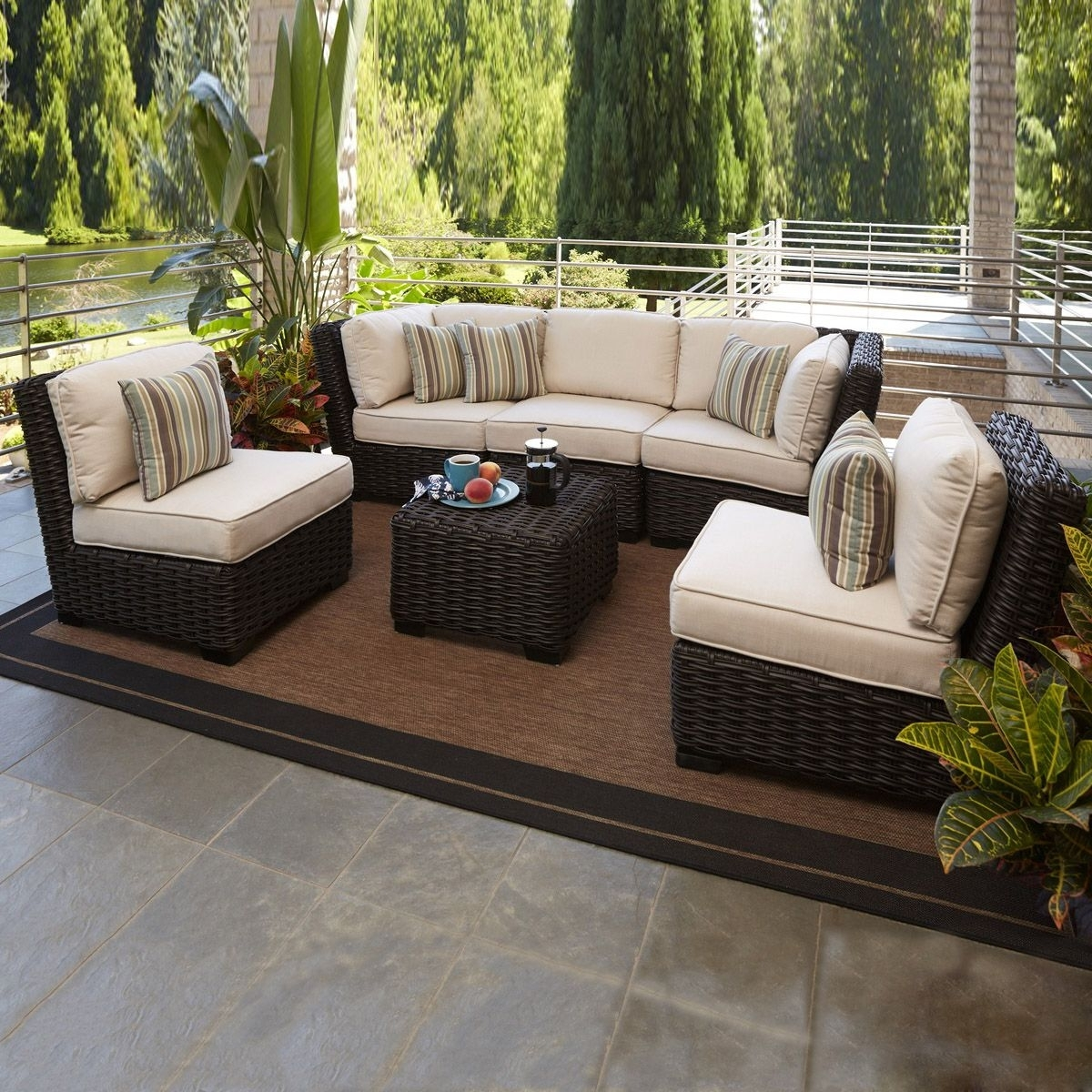 Most Up To Date Patio Conversation Sets With Covers Pertaining To Allen + Roth Blaney 6 Piece Outdoor Conversation Set – (3)Lg  (View 13 of 20)