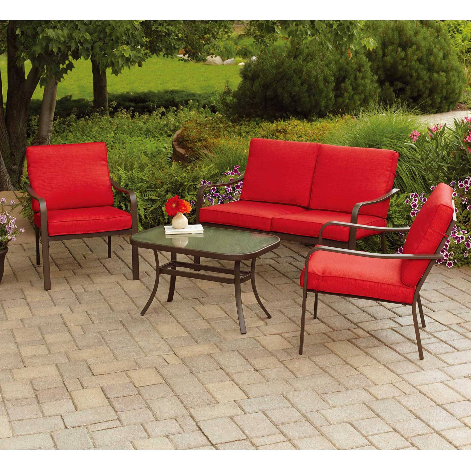 Most Up To Date Patio Conversation Sets With Cushions With Details About Mainstays Stanton Cushioned 4 Piece Patio Conversation Set, Seats (View 8 of 20)