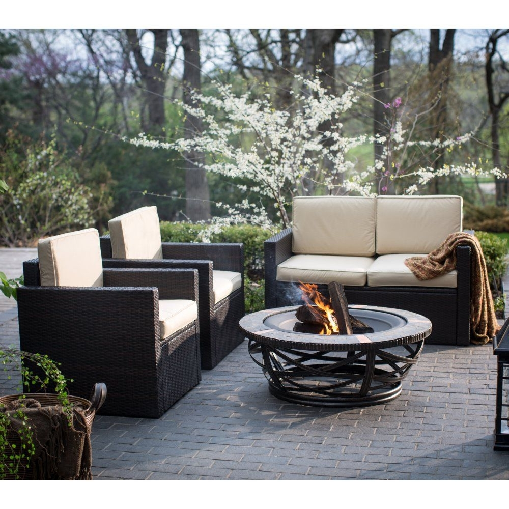 Most Up To Date Patio Conversation Sets With Fire Table Pertaining To Palm Harbor Tile Fire Pit Chat Set – Fire Pit Patio Sets At (View 18 of 20)