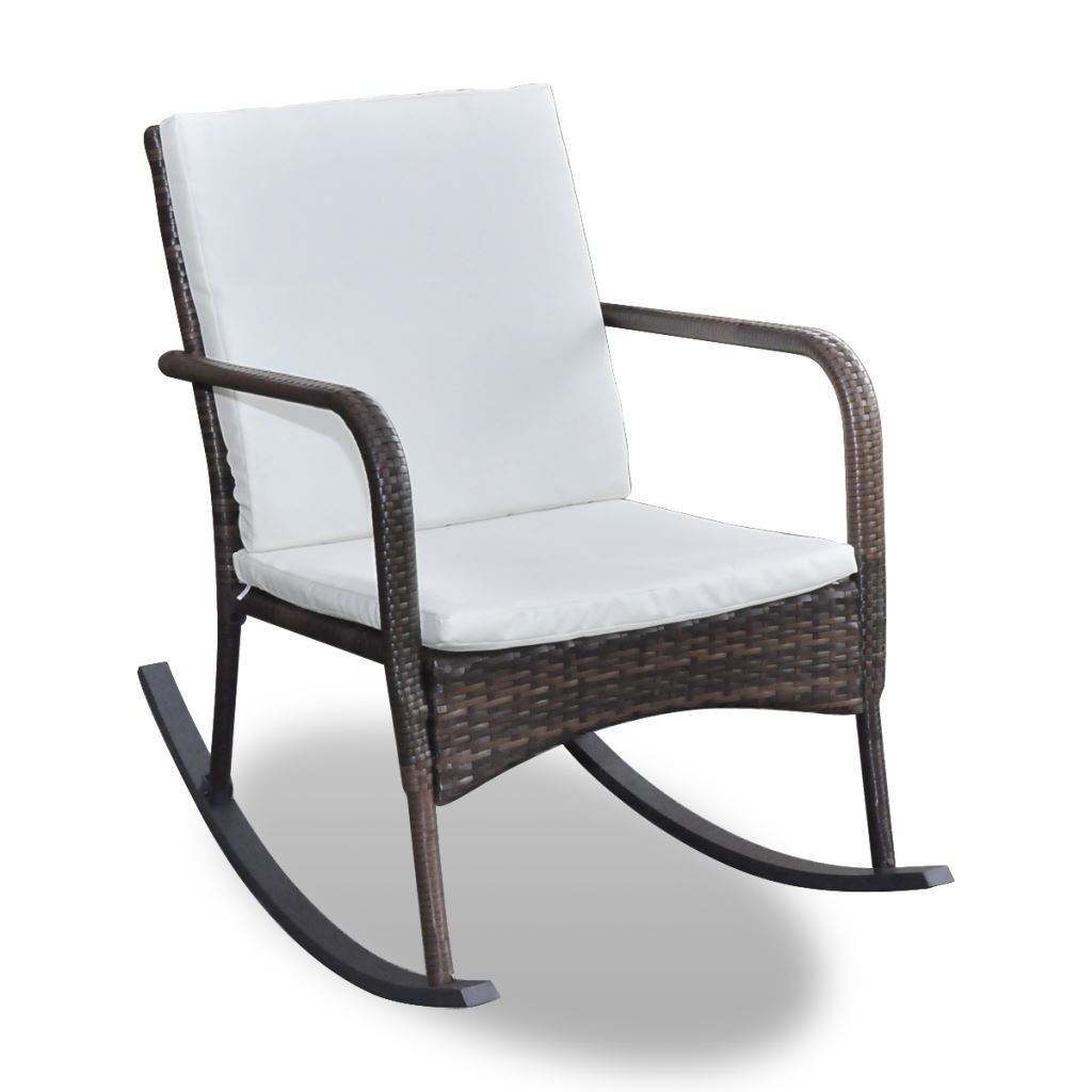 Most Up To Date Patio Rocking Chairs With Covers Throughout Outdoor Wicker Rattan Rocking Chair Patio Furniture Garden Poolside (View 18 of 20)
