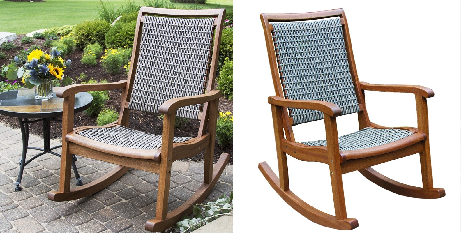 Most Up To Date Resin Wicker And Eucalyptus Rocking Chair — Homebnc With Resin Wicker Patio Rocking Chairs (View 14 of 20)