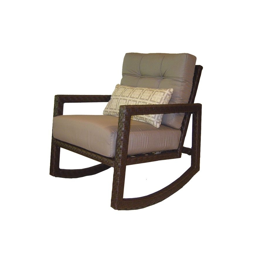 Most Up To Date Shop Allen + Roth Lawley Textured Black Steel Cushioned Patio Throughout Modern Patio Rocking Chairs (View 15 of 20)