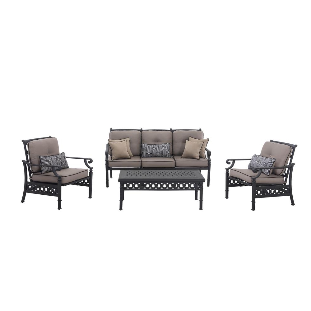 Most Up To Date Sunjoy Catelynn 4 Piece Patio Conversation Set With Beige Cushions Within Black Patio Conversation Sets (View 1 of 20)