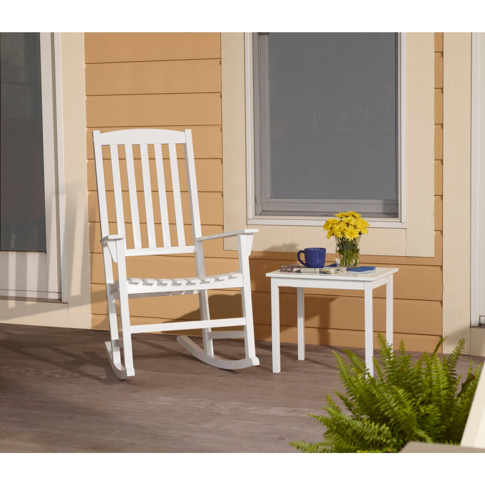Most Up To Date White Patio Rocking Chairs For Mainstays Outdoor Rocking Chair, White – Walmart (View 19 of 20)