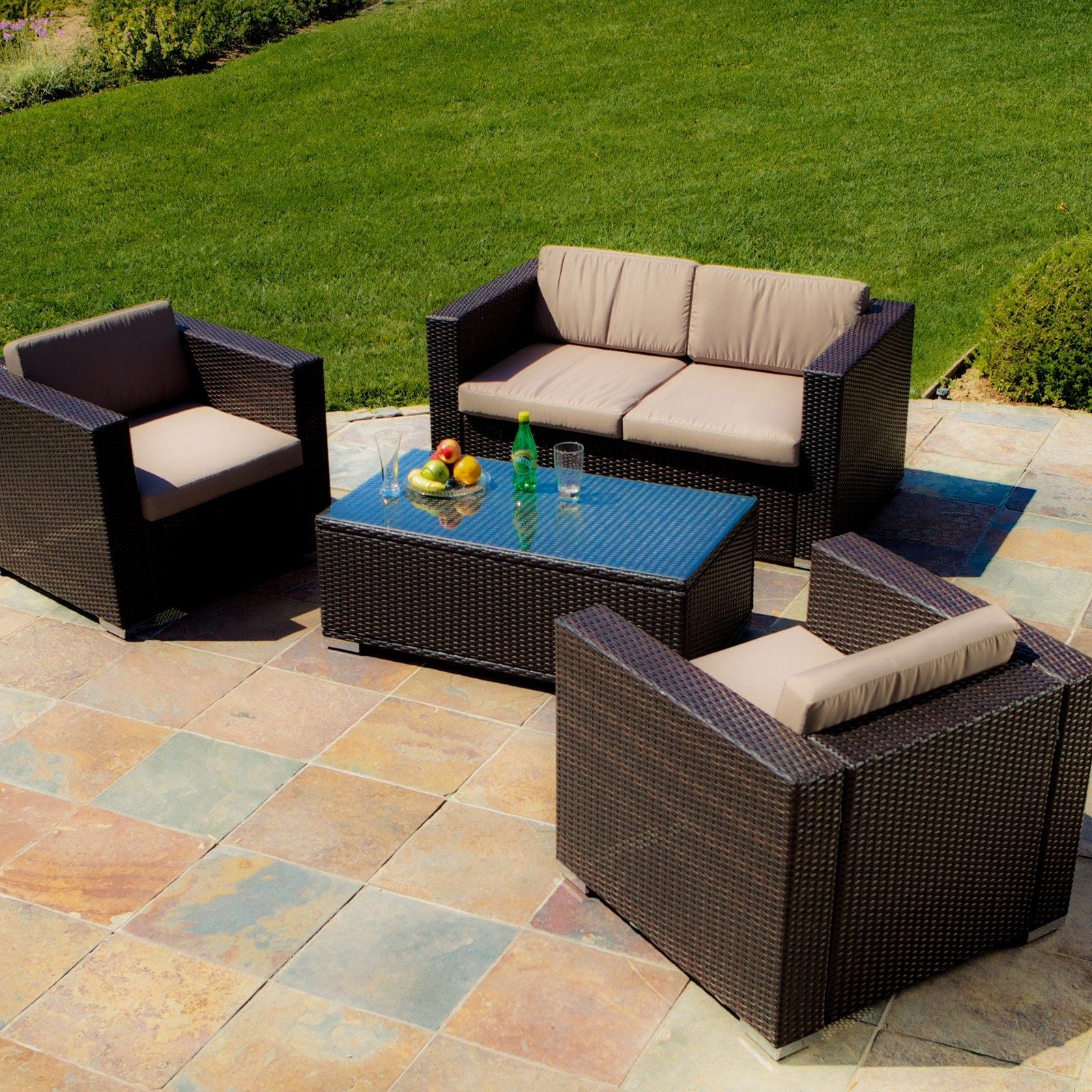 Murano All Weather Wicker Outdoor Conversation Set – Walmart Regarding Most Recently Released 4 Piece Patio Conversation Sets (View 5 of 20)