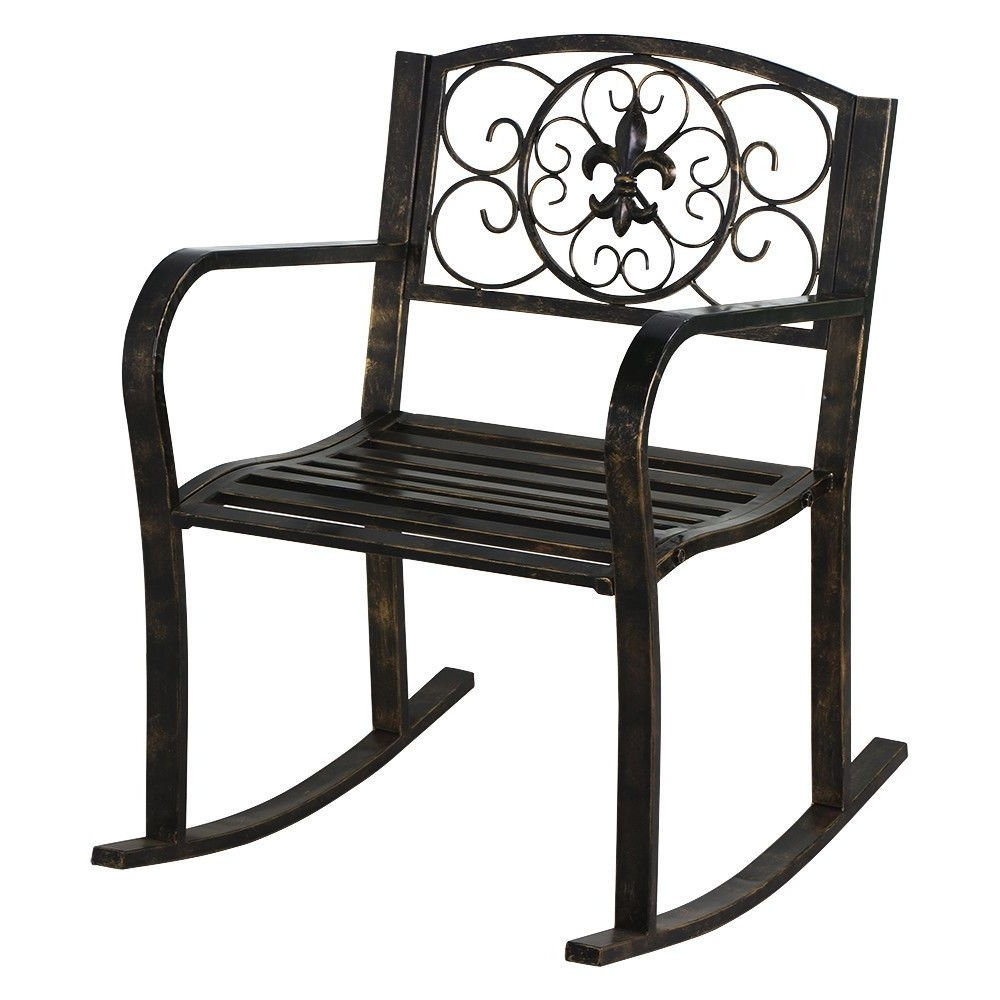 New Patio Metal Rocking Chair Porch Seat Deck Outdoor Backyard For Widely Used Outdoor Patio Metal Rocking Chairs (Gallery 14 of 20)