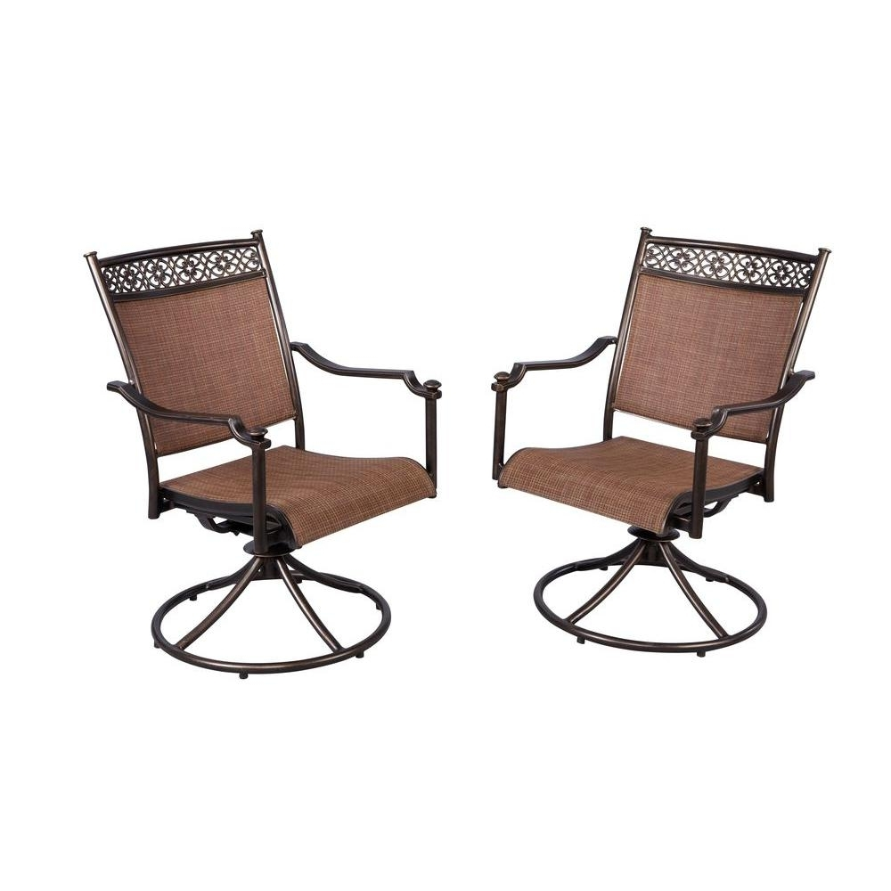 Newest Aluminum Patio Rocking Chairs Inside Hampton Bay Niles Park Sling Patio Swivel Rockers (2 Pack) S (View 13 of 20)