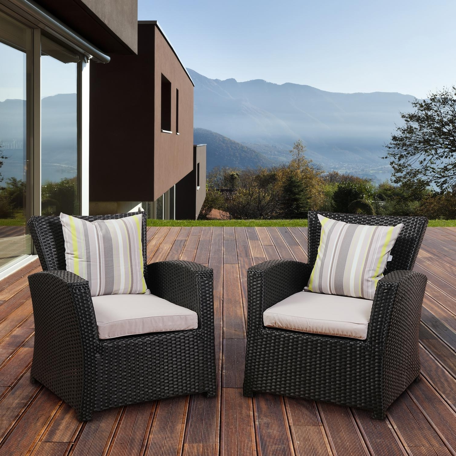 Newest Atlantic Staffordshire 4 Person Resin Wicker Patio Conversation Set Within Black Patio Conversation Sets (View 8 of 20)