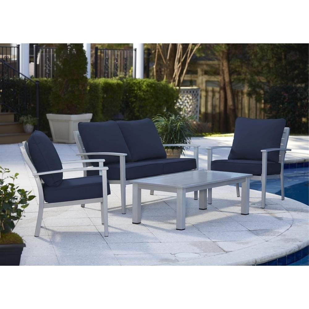 Newest Blue Gray Patio Conversation Sets Outdoor Lounge Furniture In Navy For Gray Patio Conversation Sets (View 14 of 20)