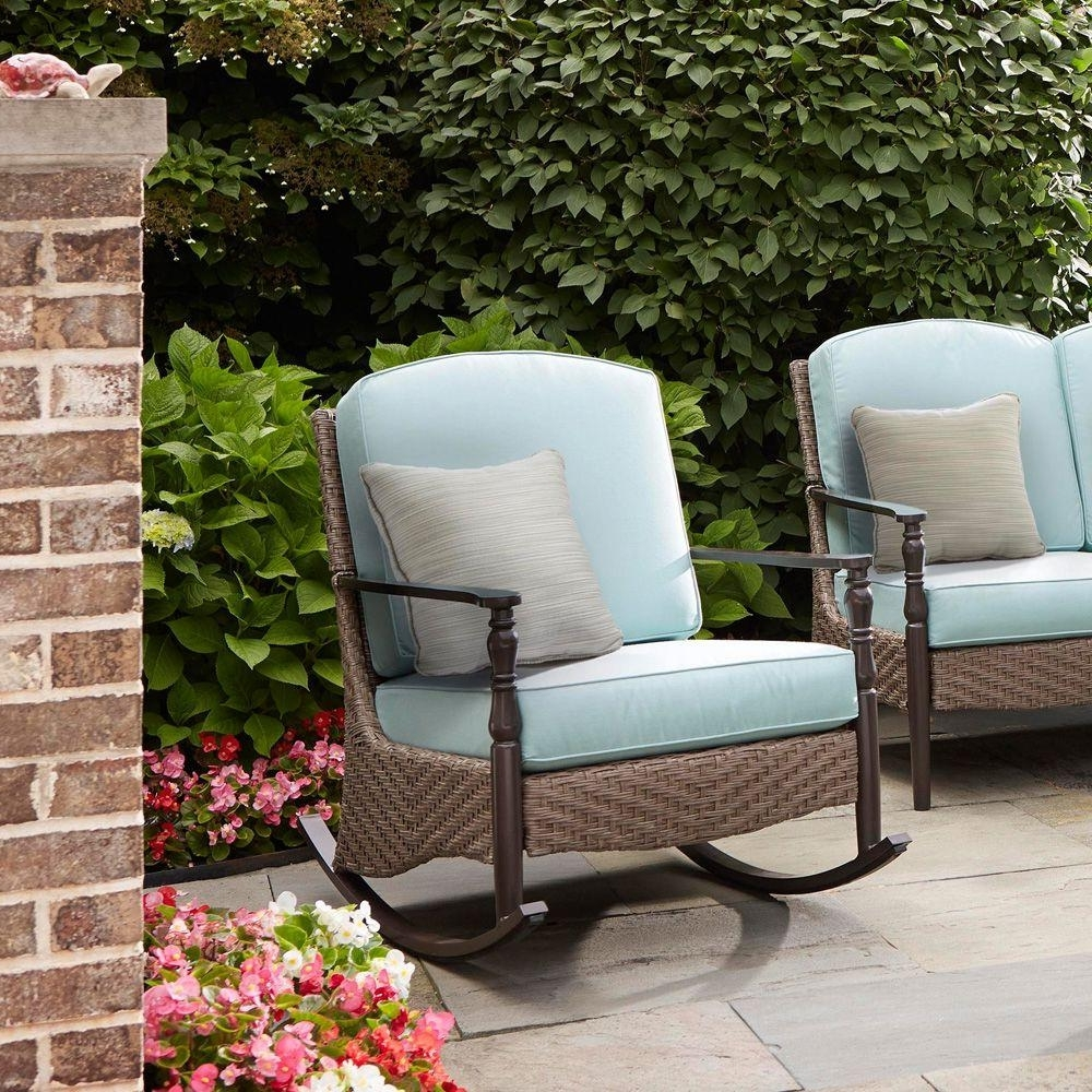 Newest Brown Wicker Patio Rocking Chairs Regarding Wicker Patio Furniture – Rocking Chairs – Patio Chairs – The Home Depot (Gallery 20 of 20)