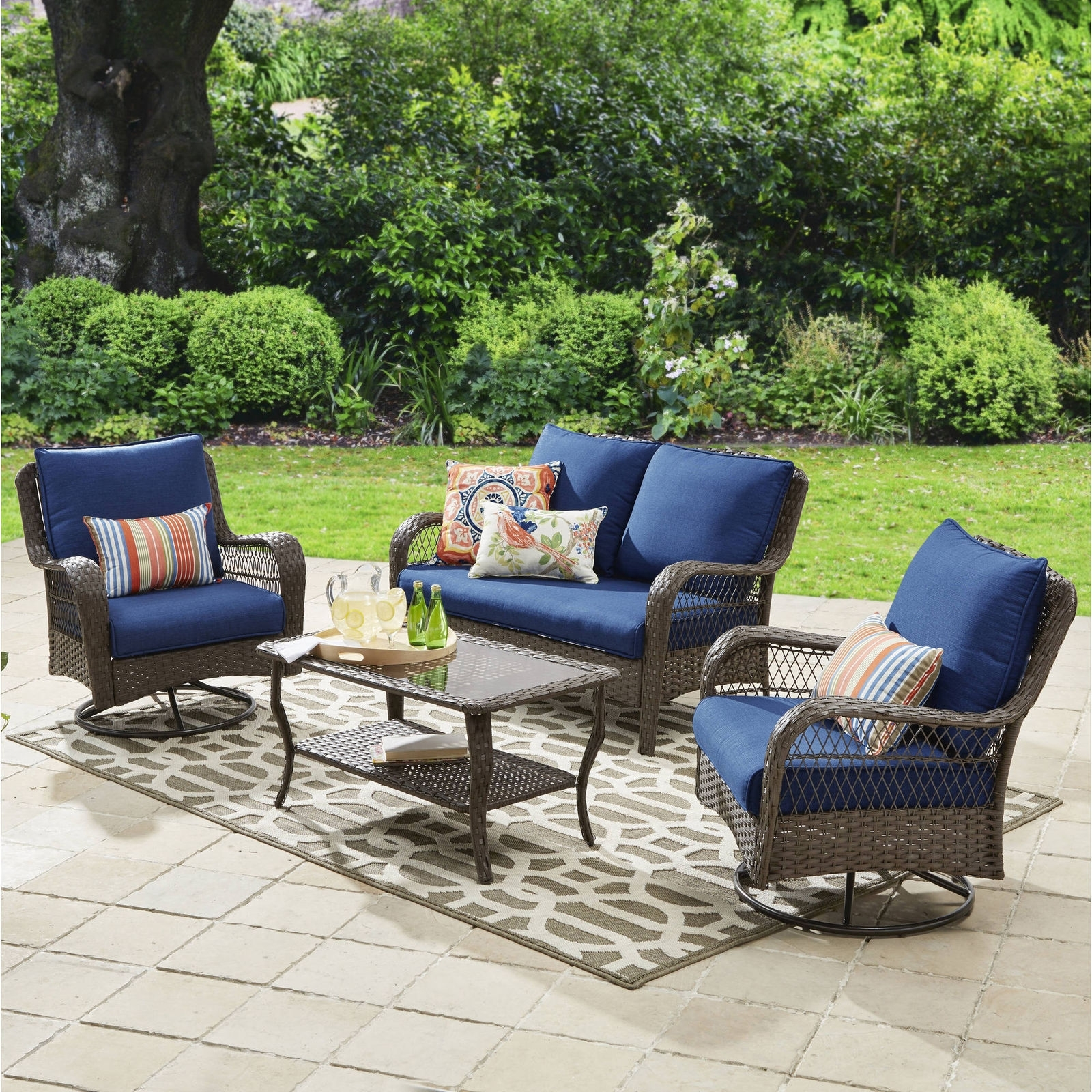 Newest Ebay Patio Conversation Sets Intended For Colebrook 4 Piece Outdoor Patio Conversation Set Seats 4 Deck (View 3 of 20)