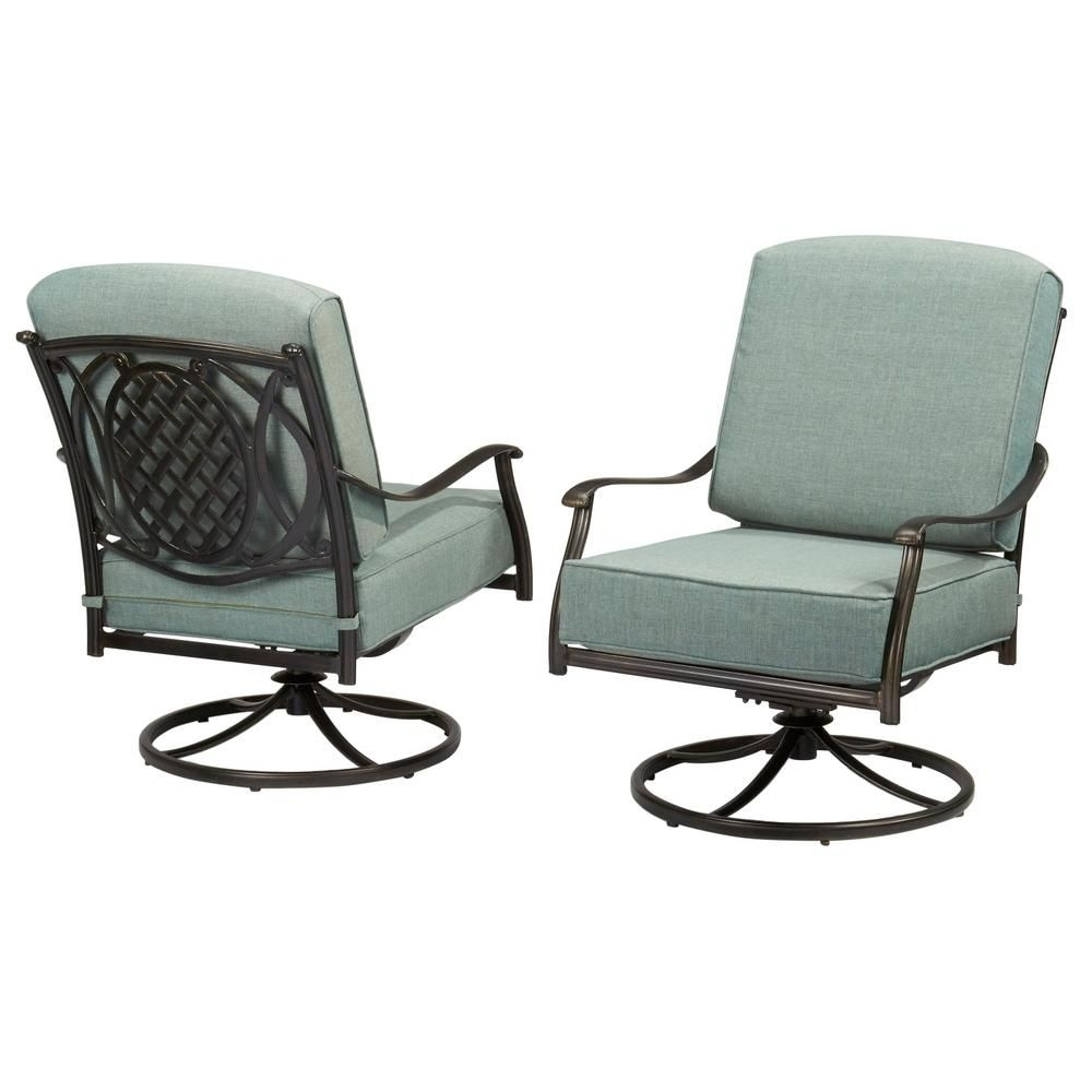 Newest Hampton Bay Belcourt Swivel Rocking Metal Outdoor Lounge Chair With Pertaining To Iron Rocking Patio Chairs (View 11 of 20)
