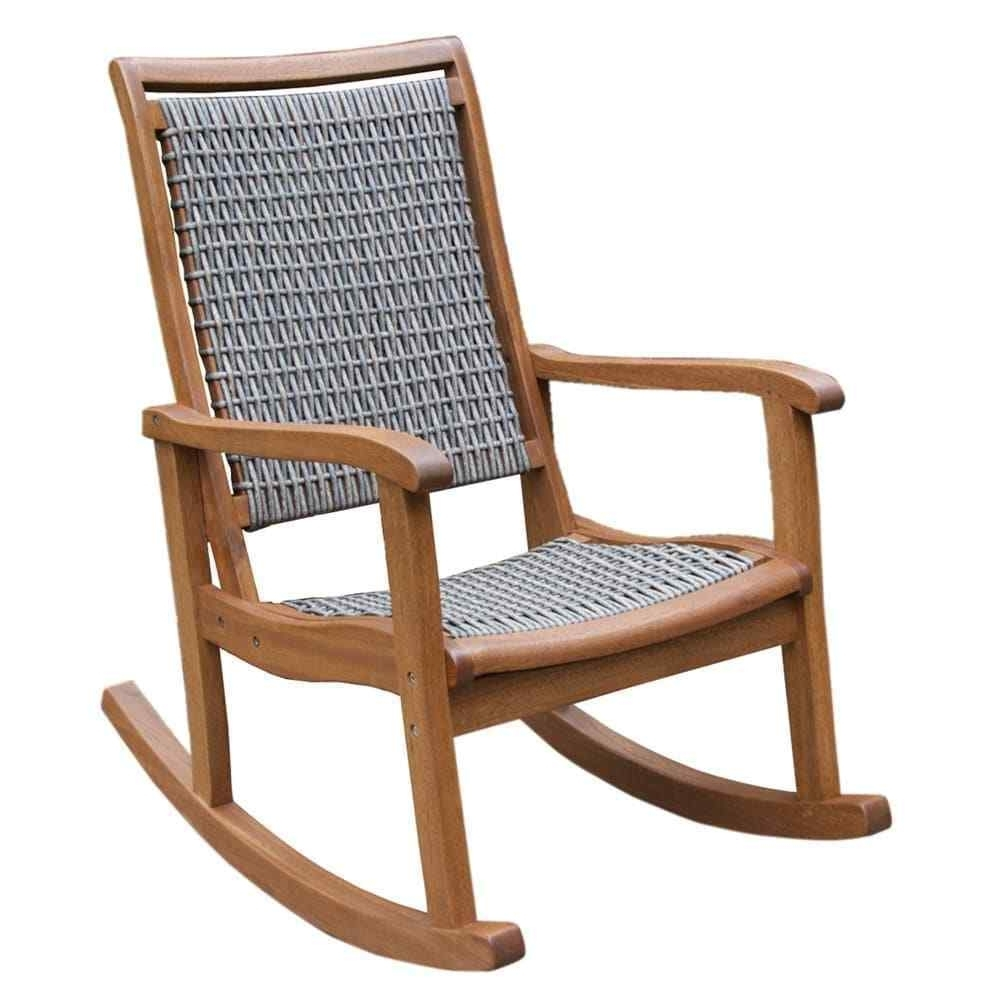 Newest Outdoor Interiors Resin Wicker Eucalyptus Rocking Chair Brown Grey Intended For Resin Patio Rocking Chairs (View 5 of 20)