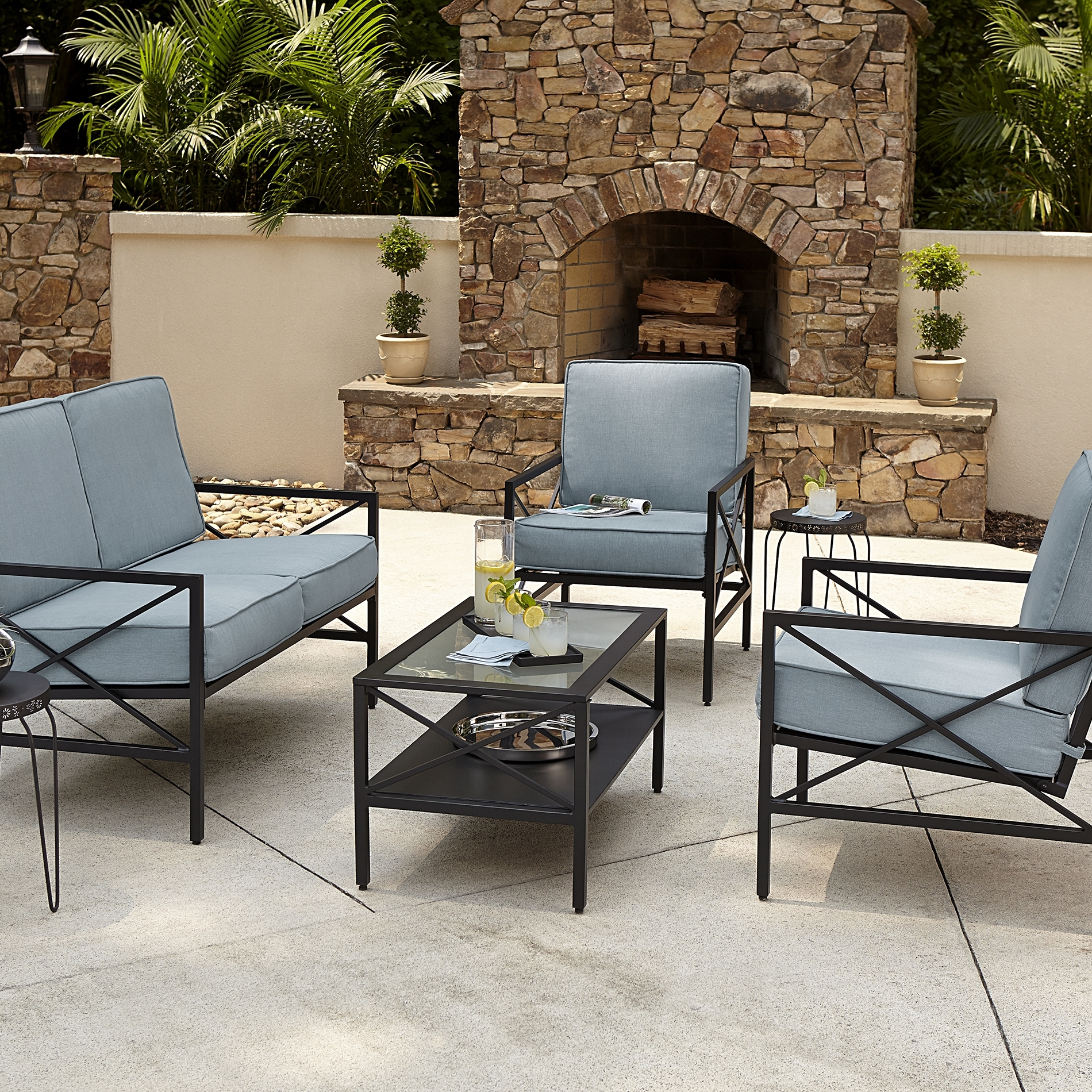Newest Patio Conversation Sets With Blue Cushions Within Patio : Blue Hill Piecetio Conversation Set Hampton Bay Outdoor Sets (View 10 of 20)