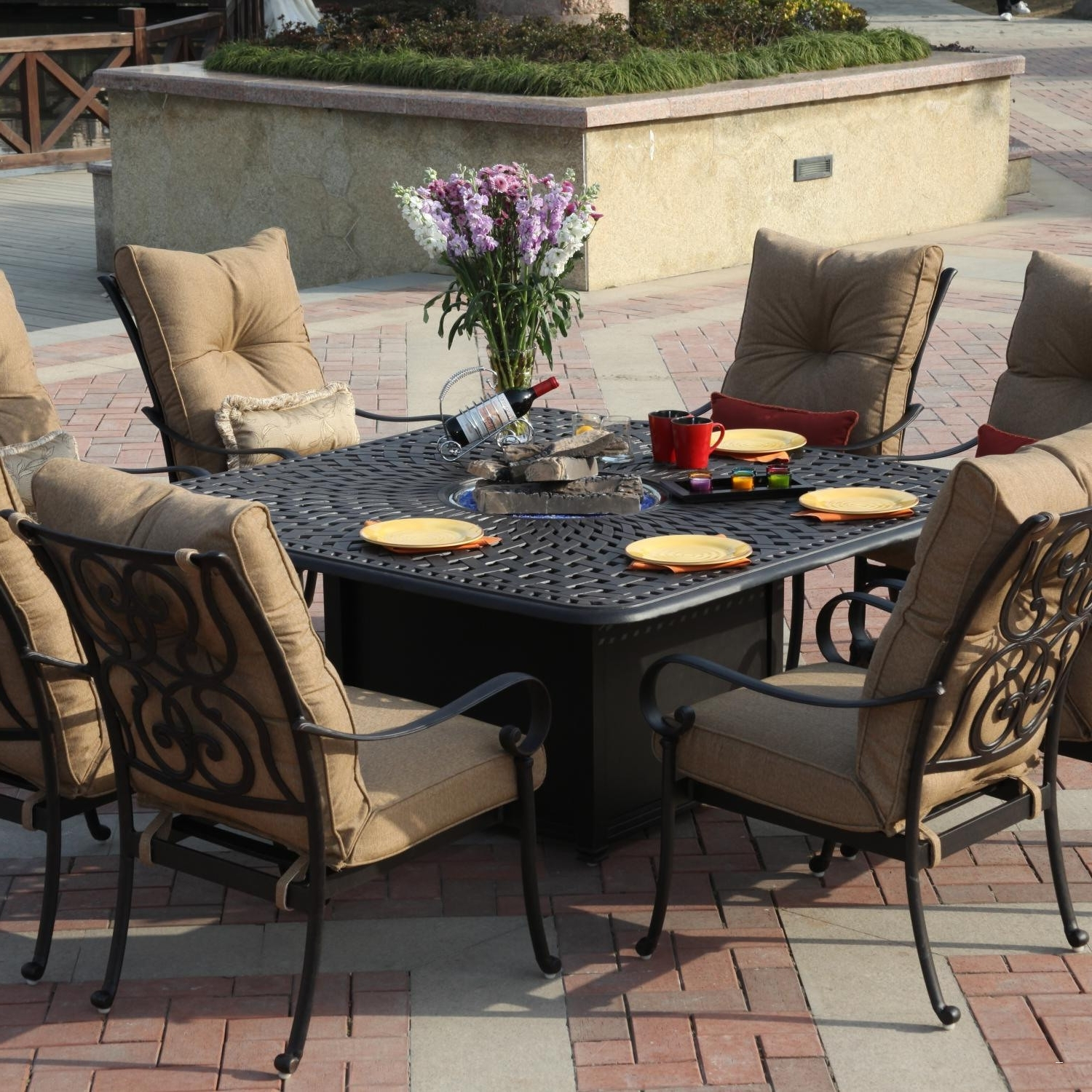 Newest Patio Conversation Sets With Dining Table With 30 Amazing Patio Furniture Fire Pit Table Set Concept (View 15 of 20)