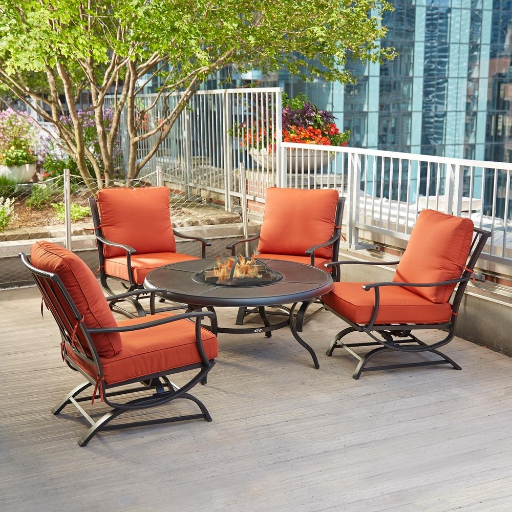 Newest Patio Conversation Sets With Fire Pit Table Regarding Chairs For Conversation Area Wicker Conversation Set Fire Pit Table (View 19 of 20)