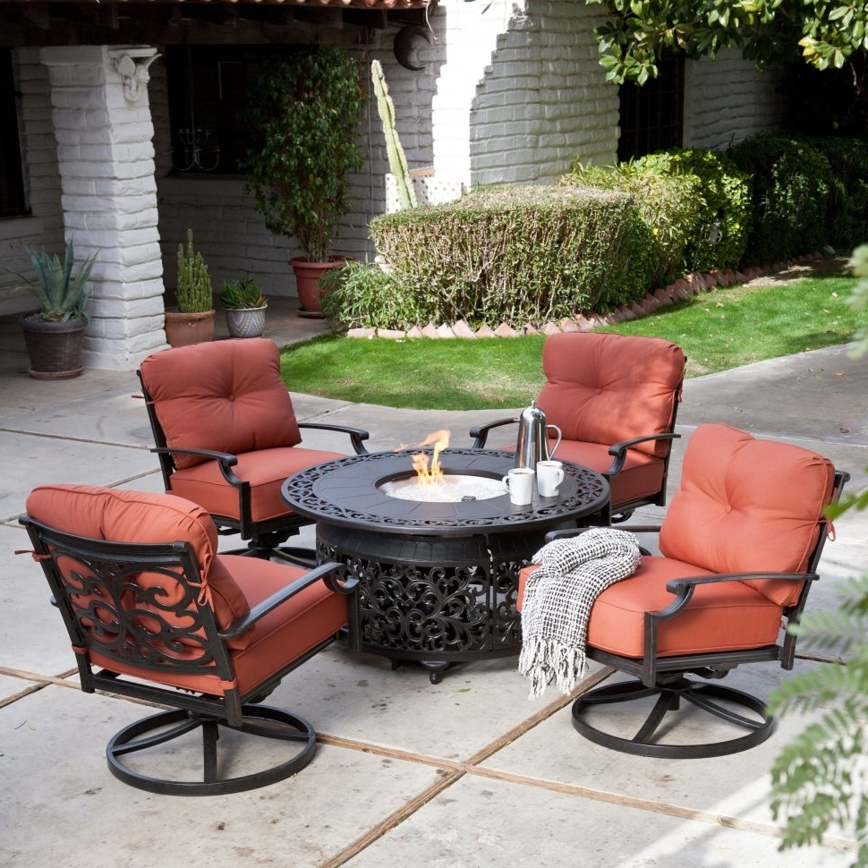 Newest Patio Conversation Sets With Propane Fire Pit Pertaining To Decoration : Round Propane Fire Pit Fire Pit Conversation Set (View 8 of 20)