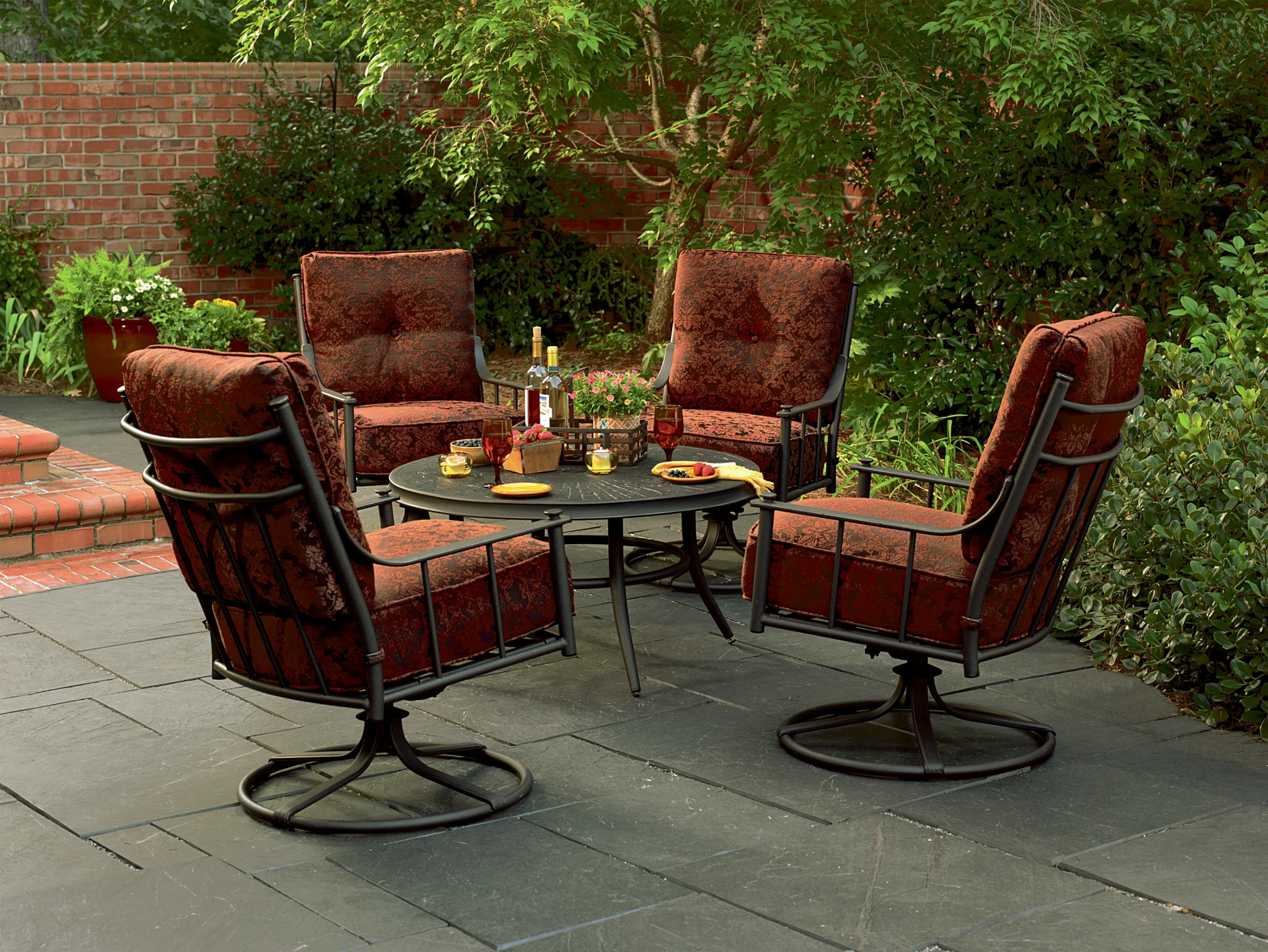 Newest Patio Conversation Sets With Swivel Chairs Intended For Impressive Steel Patio Furniture  (View 10 of 20)