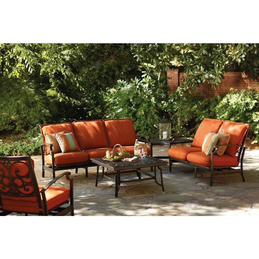 Newest Patio Furniture Conversation Sets At Home Depot Pertaining To Thomasville Messina 4 Piece Patio Sectional Seating Set With Paprika (View 2 of 20)