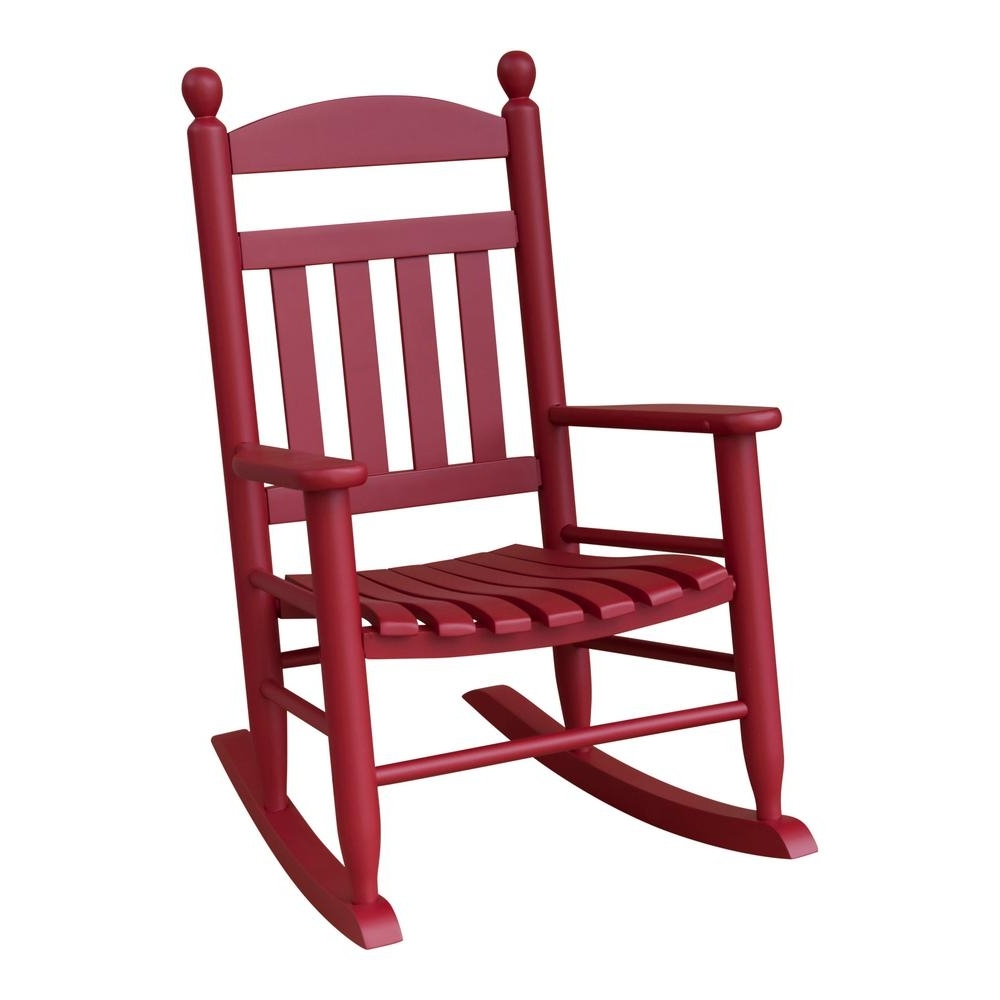 Newest Red Patio Rocking Chairs Regarding Youth Slat Red Wood Outdoor Patio Rocking Chair 201Sef Rta – The (View 8 of 20)