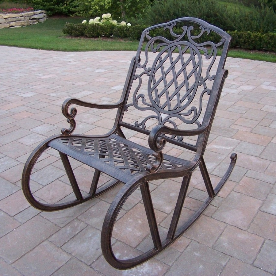 Newest Shop Oakland Living Mississippi Aluminum Rocking Chair With Woven Intended For Outdoor Patio Metal Rocking Chairs (Gallery 16 of 20)