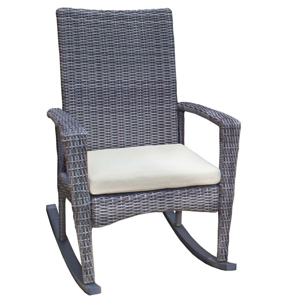 Newest Tortuga Outdoor Bayview Rocking Chair Wicker Lounge Metal Patio Intended For Indoor Wicker Rocking Chairs (View 19 of 20)