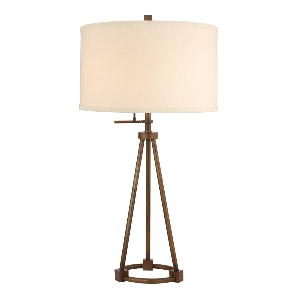 Newest Tripod Table Lamp In Bronze Finish With Cream Drum Shade (View 2 of 20)