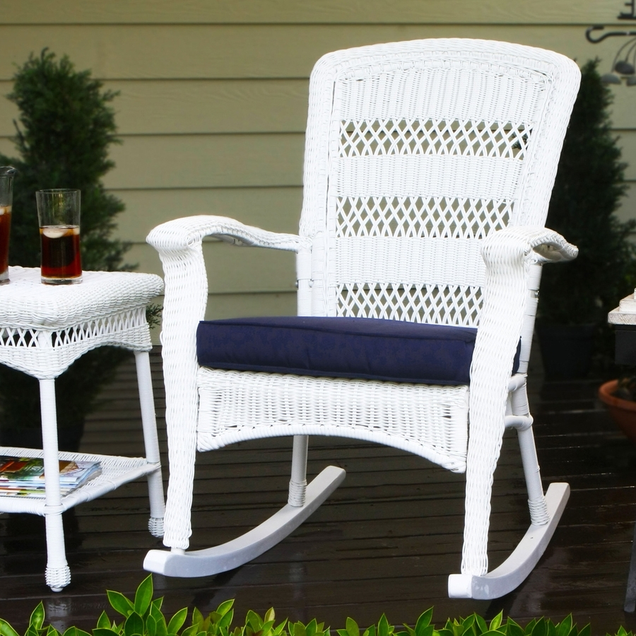 Newest Wicker Rocking Chairs With Cushions Within Shop Tortuga Outdoor Portside Wicker Rocking Chair With Navy Cushion (View 9 of 20)