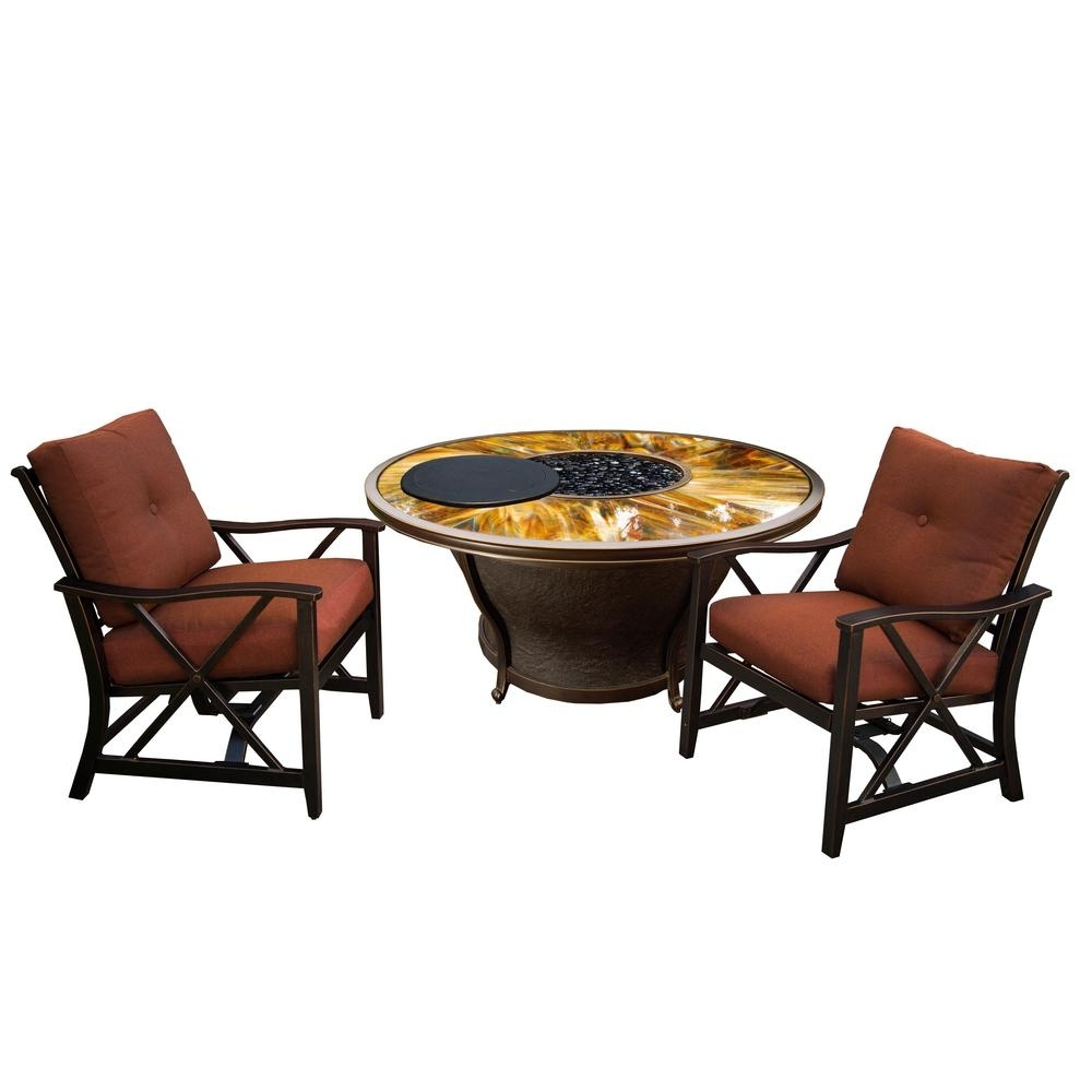 Novara 5 Piece Aluminum Patio Fire Pit Conversation Set With Red With Well Liked Black Aluminum Patio Conversation Sets (Gallery 4 of 20)