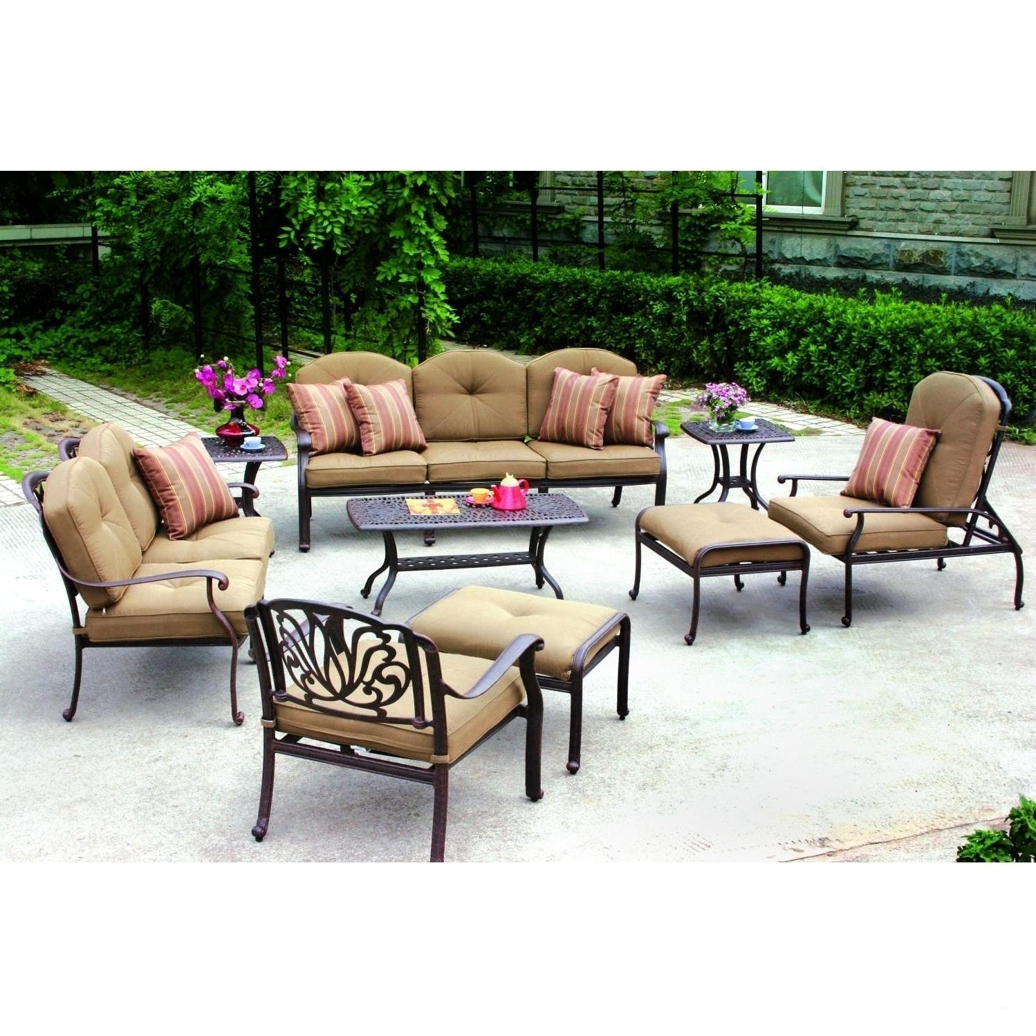 Outdoor Fire Pit Seating Conversation Chairs 3 Piece Patio Set In Trendy Target Patio Furniture Conversation Sets (View 8 of 20)