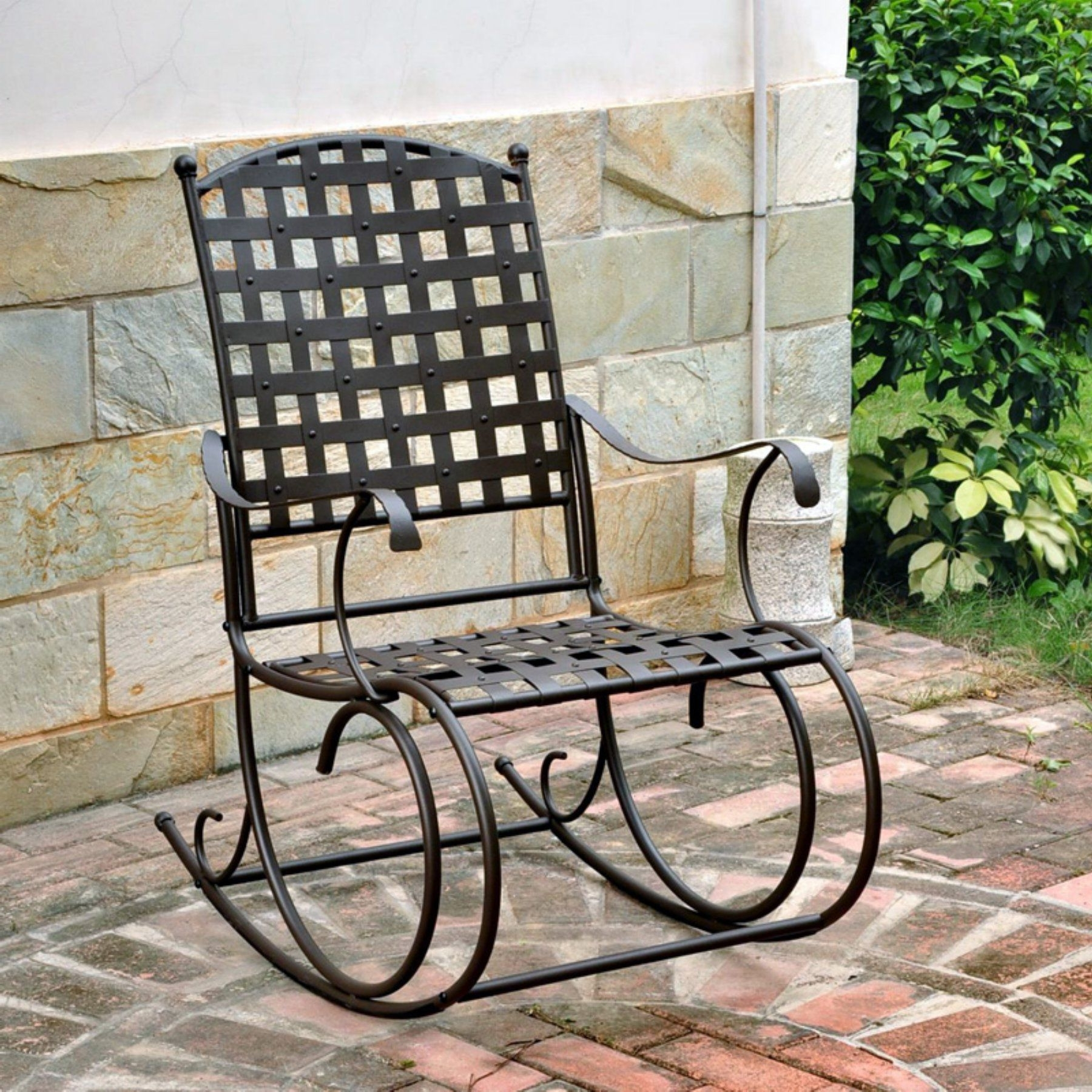 Outdoor International Caravan Santa Fe Iron Metal Patio Rocker In Famous Wrought Iron Patio Rocking Chairs (View 17 of 20)