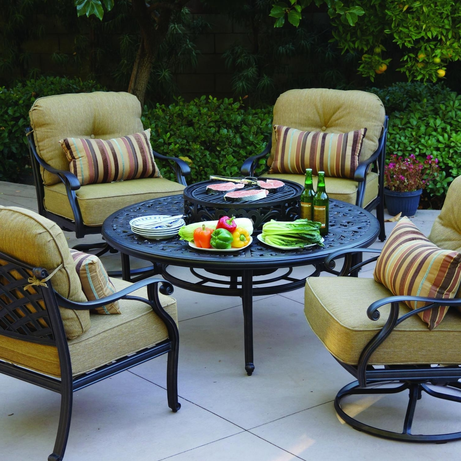 Outdoor Patio Furniture Conversation Sets Regarding Popular Darlee Nassau 5 Piece Cast Aluminum Patio Fire Pit Conversation (View 13 of 20)