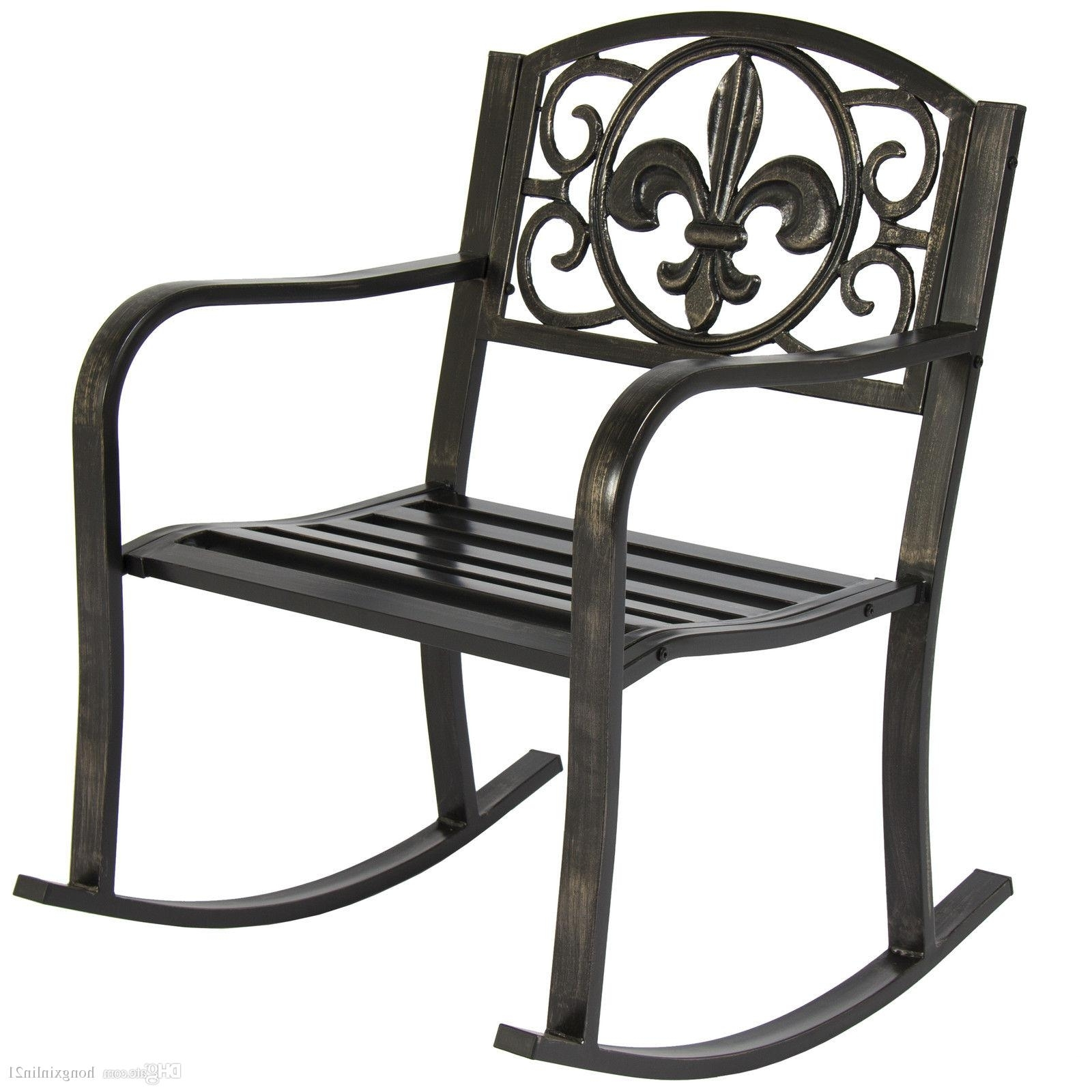 Outdoor Patio Metal Rocking Chairs With Regard To Popular 2018 Patio Metal Rocking Chair Porch Seat Deck Outdoor Backyard (View 16 of 20)