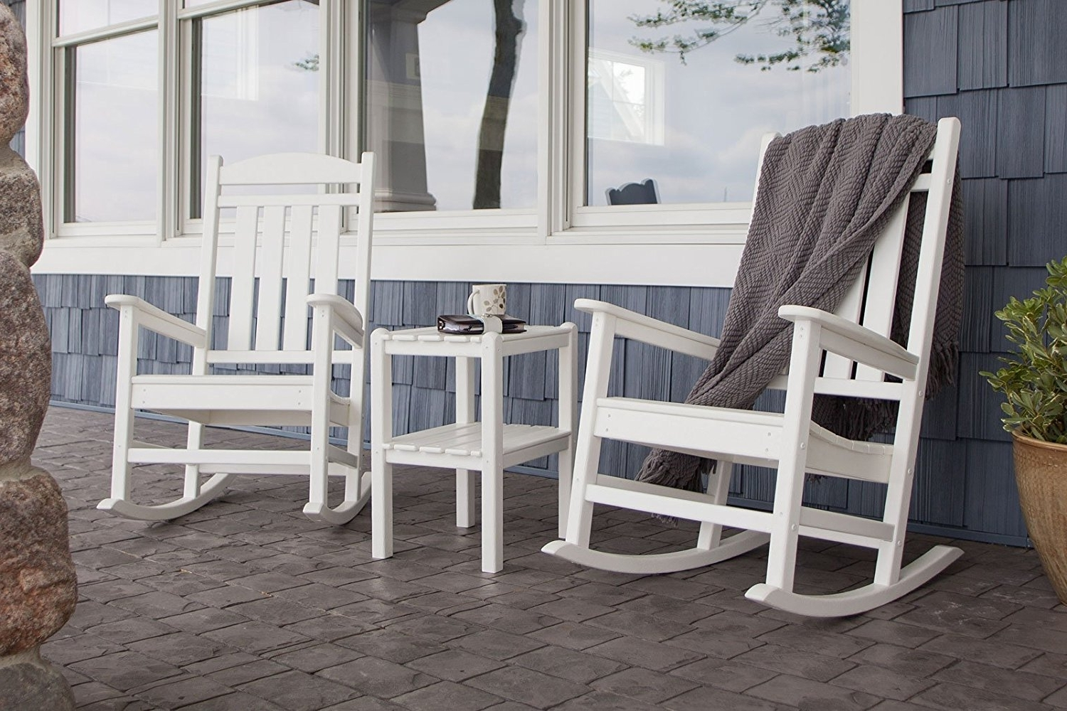 Outdoor Rocking Chairs With Table Pertaining To 2019 Livingroom : Astonishing Com Polywood Pws138 Wh Presidential Piece (View 8 of 20)
