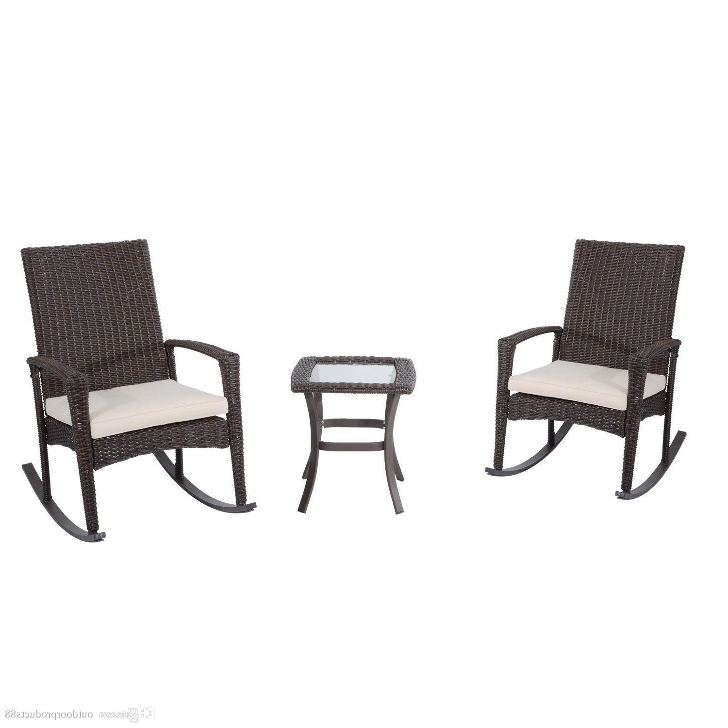 Outdoor Rocking Chairs With Table Regarding Preferred 2018 Outdoor Rocking Chair And Table Set,rocking Rattan Wicker Chiar (View 9 of 20)