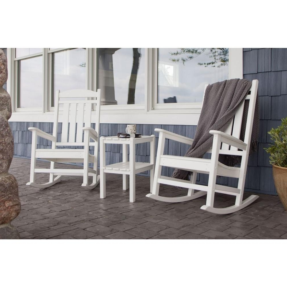 Outdoor Rocking Chairs With Table Throughout Newest Polywood Presidential White 3 Piece Patio Rocker Set Pws138 1 Wh (View 6 of 20)