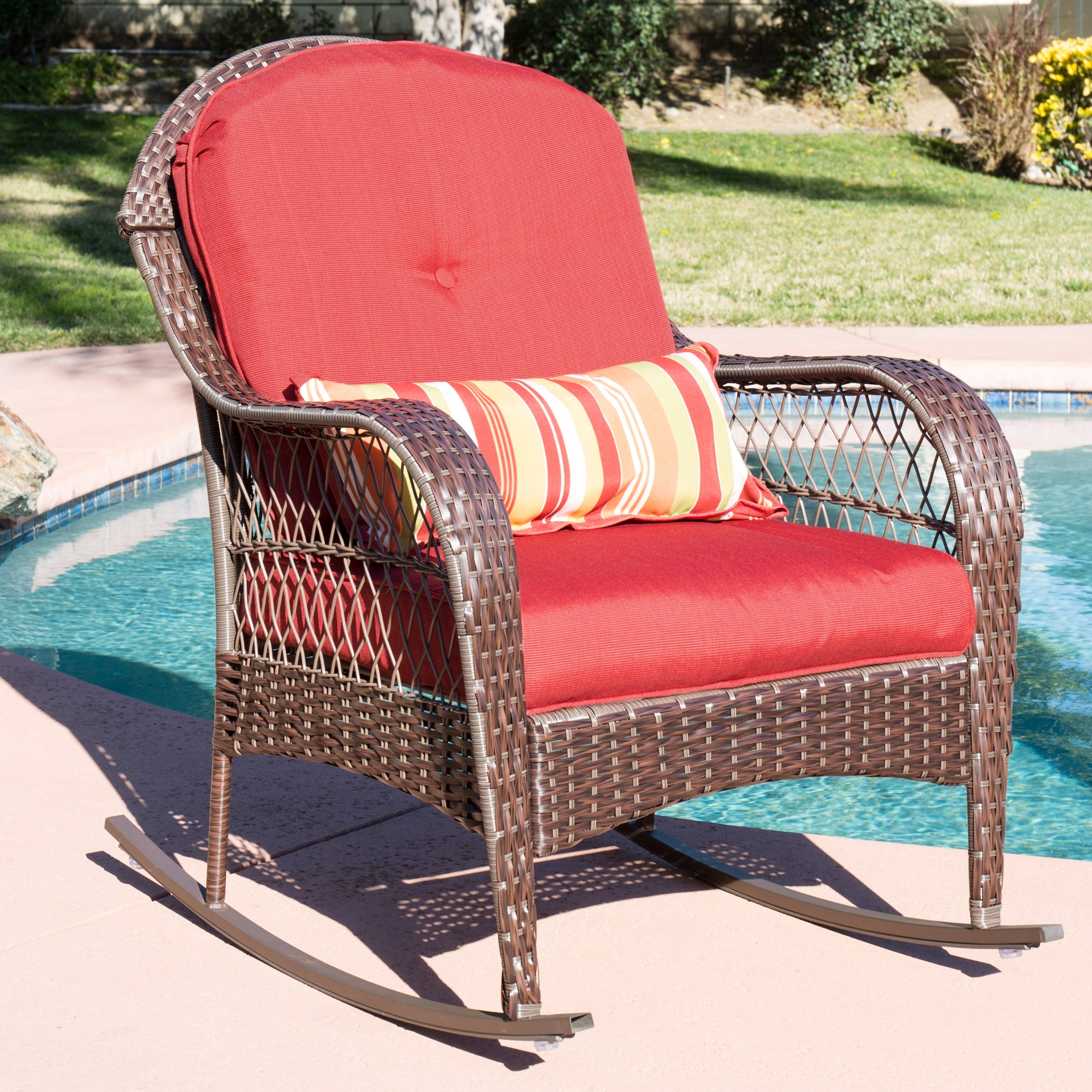Outdoor Wicker Rocking Chairs With Cushions Regarding Newest Best Choice Products Wicker Rocking Chair Patio Porch Deck Furniture (View 20 of 20)