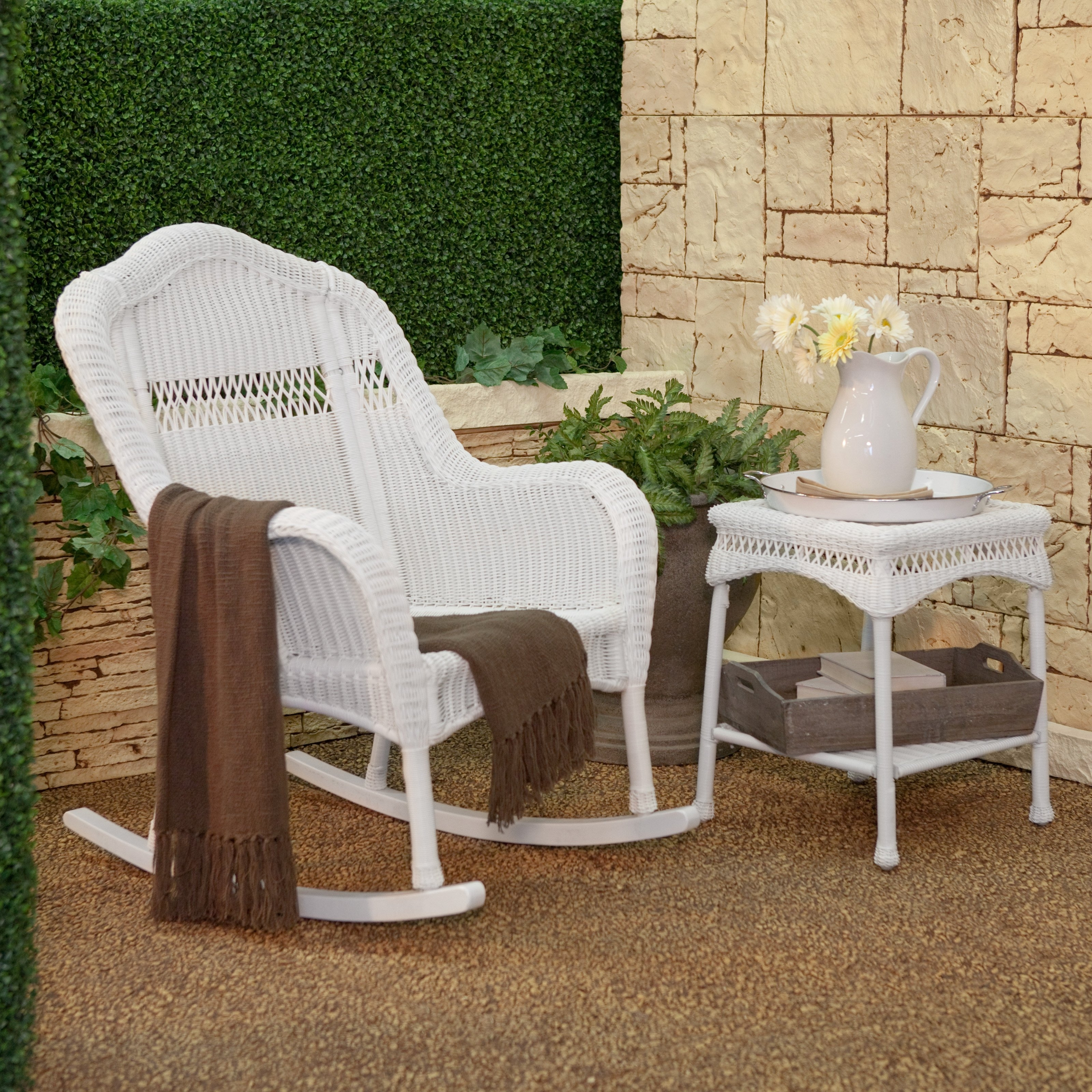 Outdoor Wicker Rocking Chairs With Cushions With Favorite Coral Coast Casco Bay Resin Wicker Rocking Chair With Cushion Option (View 15 of 20)