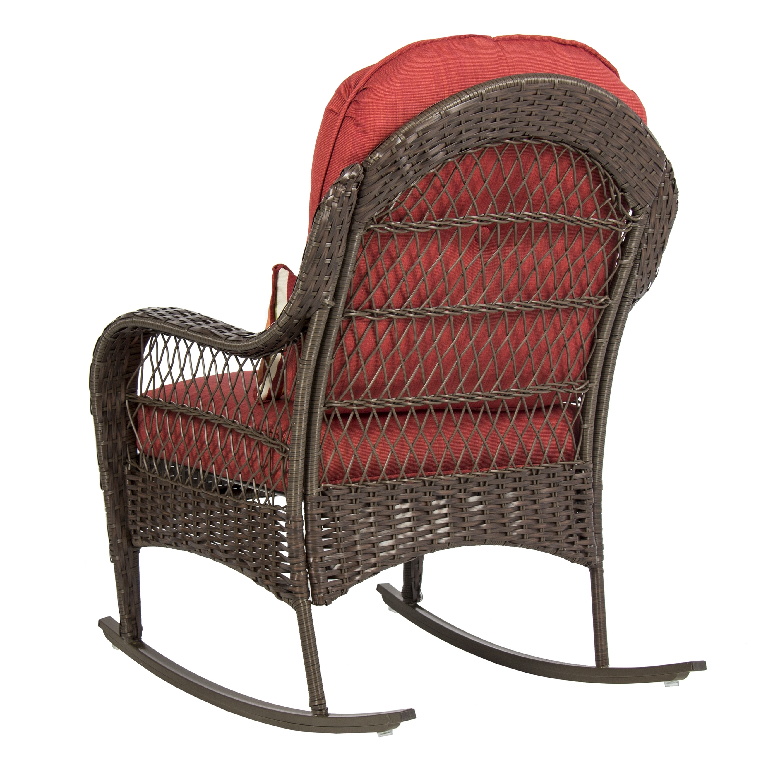 Outdoor Wicker Rocking Chairs With Cushions Within Well Known Best Choice Products Wicker Rocking Chair Patio Porch Deck Furniture (View 16 of 20)