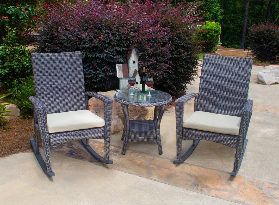 Outside Rocking Chair Sets Regarding Trendy Outdoor Rocking Chair Set (View 12 of 20)