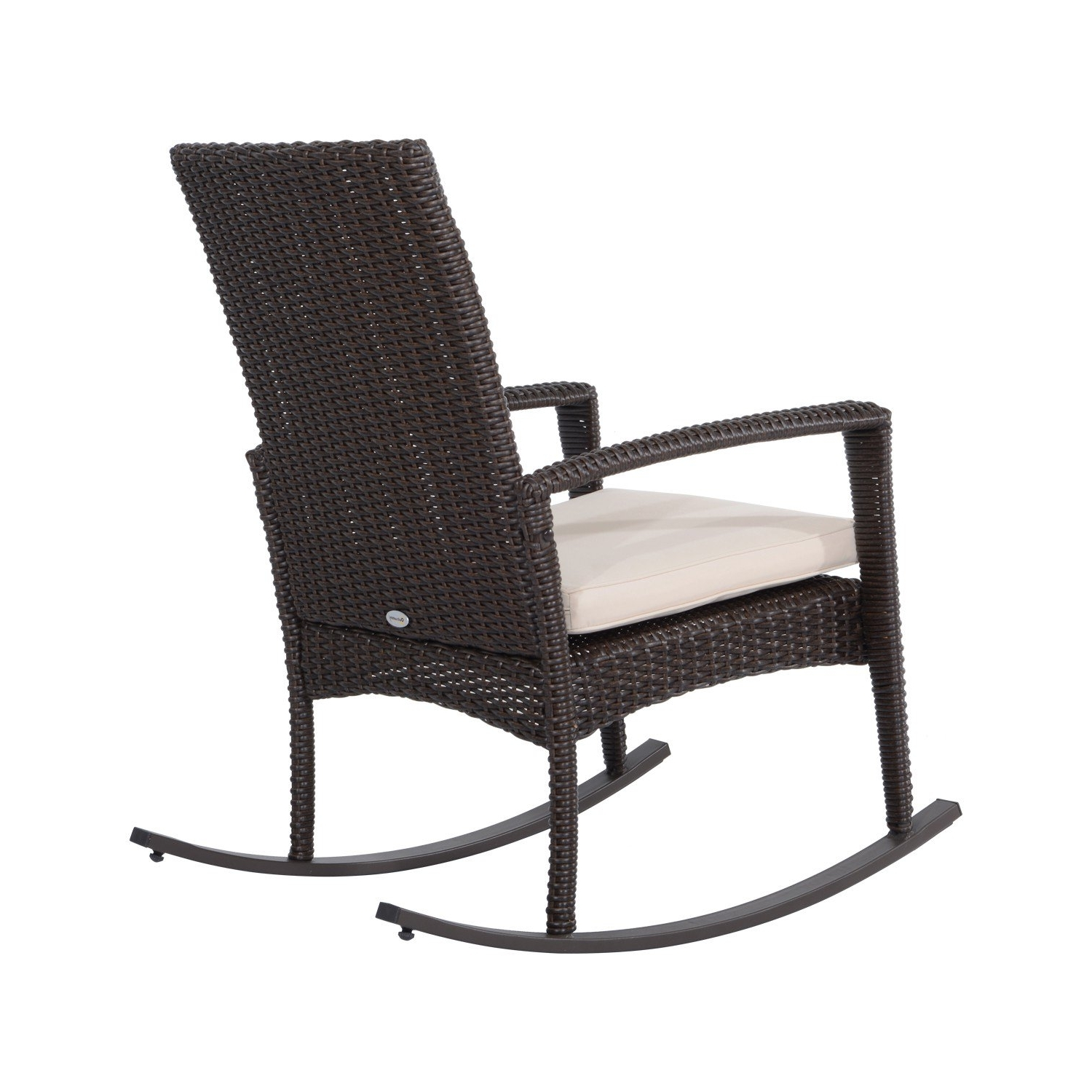 Outsunny 3 Pieces Rocking Chair Table Set Garden Wicker Furniture 2 For Recent Rocking Chairs For Garden (View 7 of 20)