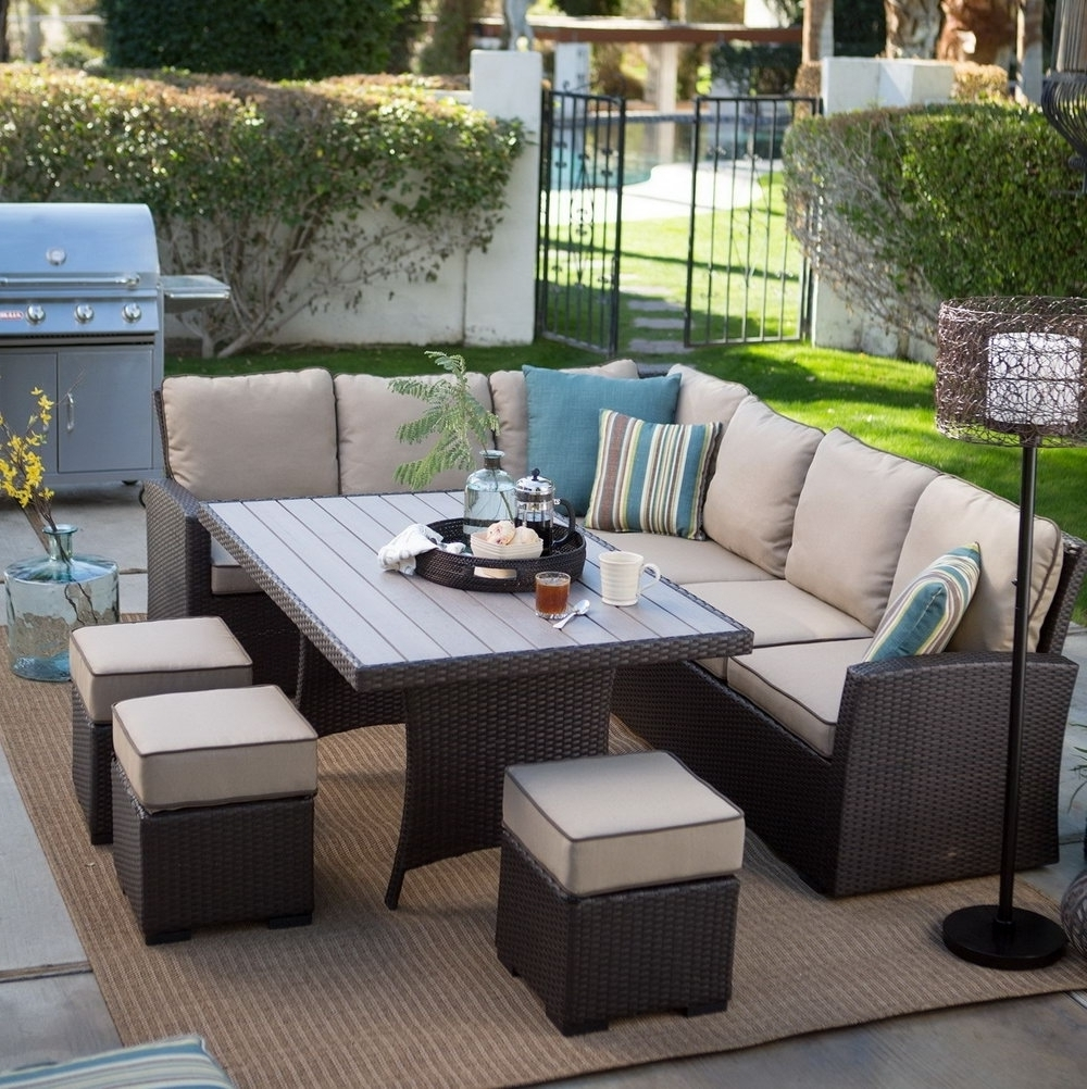 Patio : Brown Wicker Patio Conversation Sets Clearance With Fire Pit Throughout Popular Patio Conversation Sets With Covers (View 17 of 20)